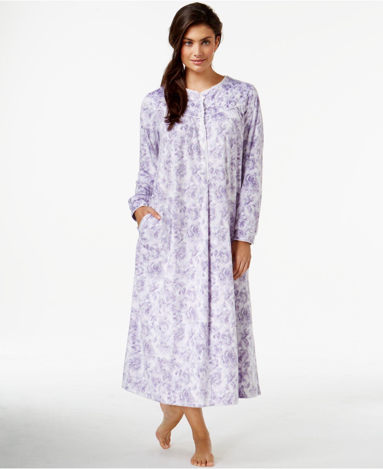 Lyst - Lanz Of Salzburg Long Flannel Nightgown in Purple