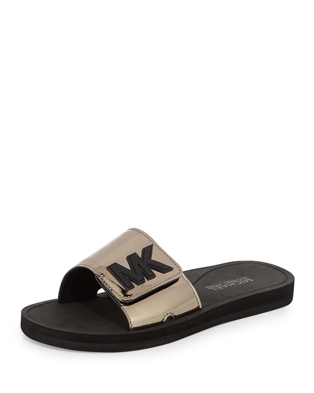 4ee727664279 Lyst - MICHAEL Michael Kors Mk Sport Slide Sandal in Metallic