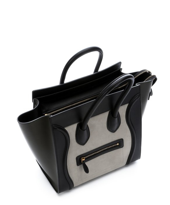 C¨¦line Grey Leather and Suede Colorblock Luggage Trapeze Bag in ...