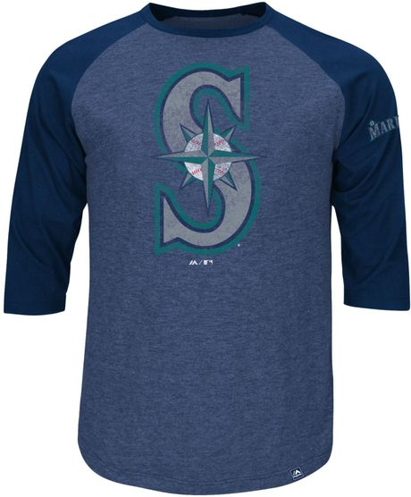Majestic Men 39 S Three Quarter Sleeve Seattle Mariners T