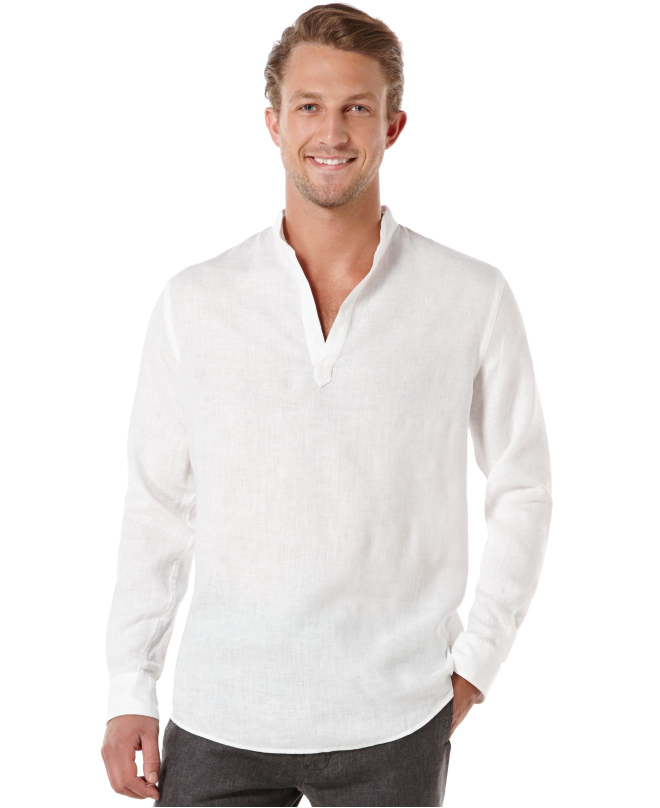 lyst perry ellis solid linen popover shirt in white for men