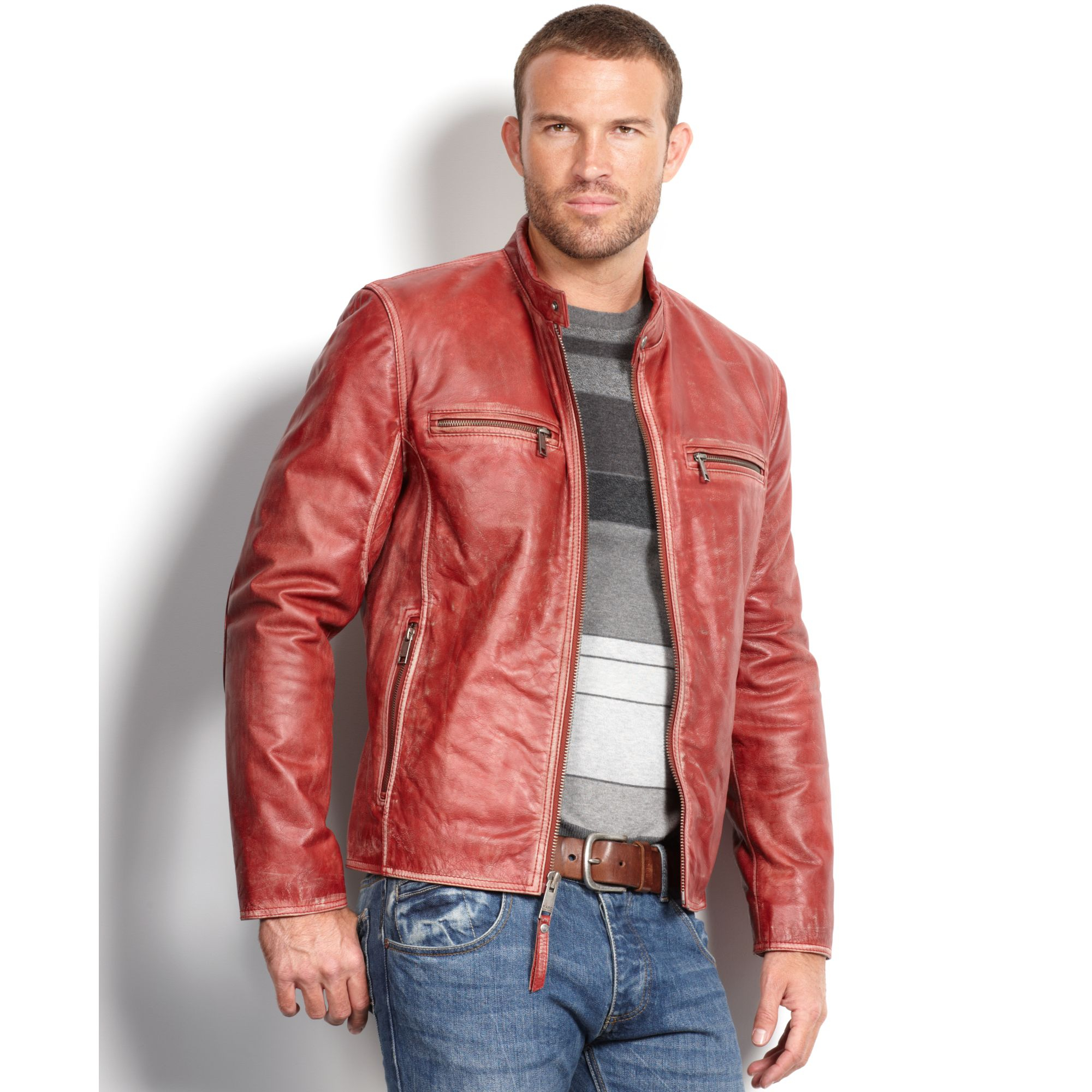 498caa056 Marc New York Red Ryder Distressed Calf Leather Moto Jacket for men