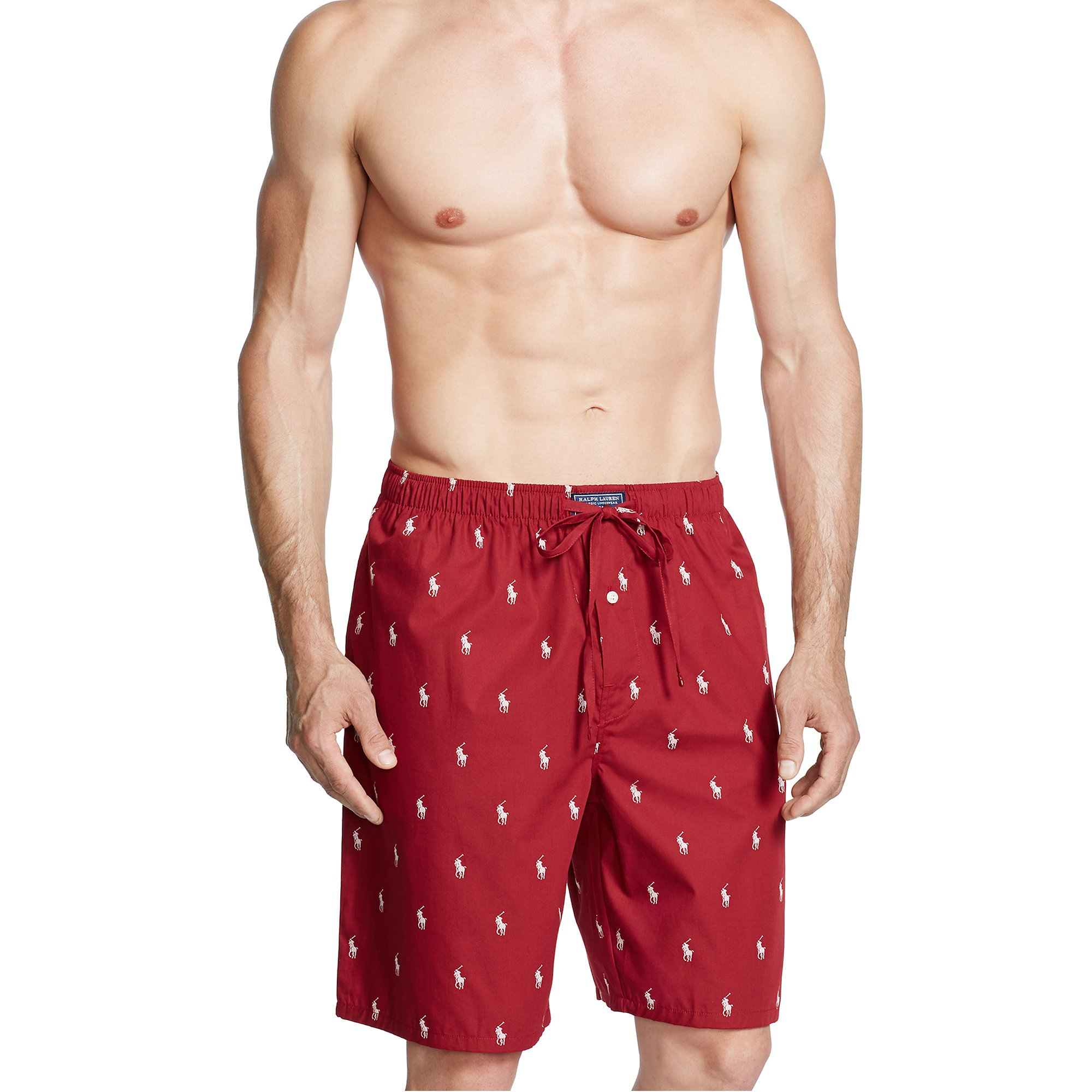 2ac6a5ea740b ... low price lyst polo ralph lauren allover pony sleep short in red for men  ae33f 7d8e0