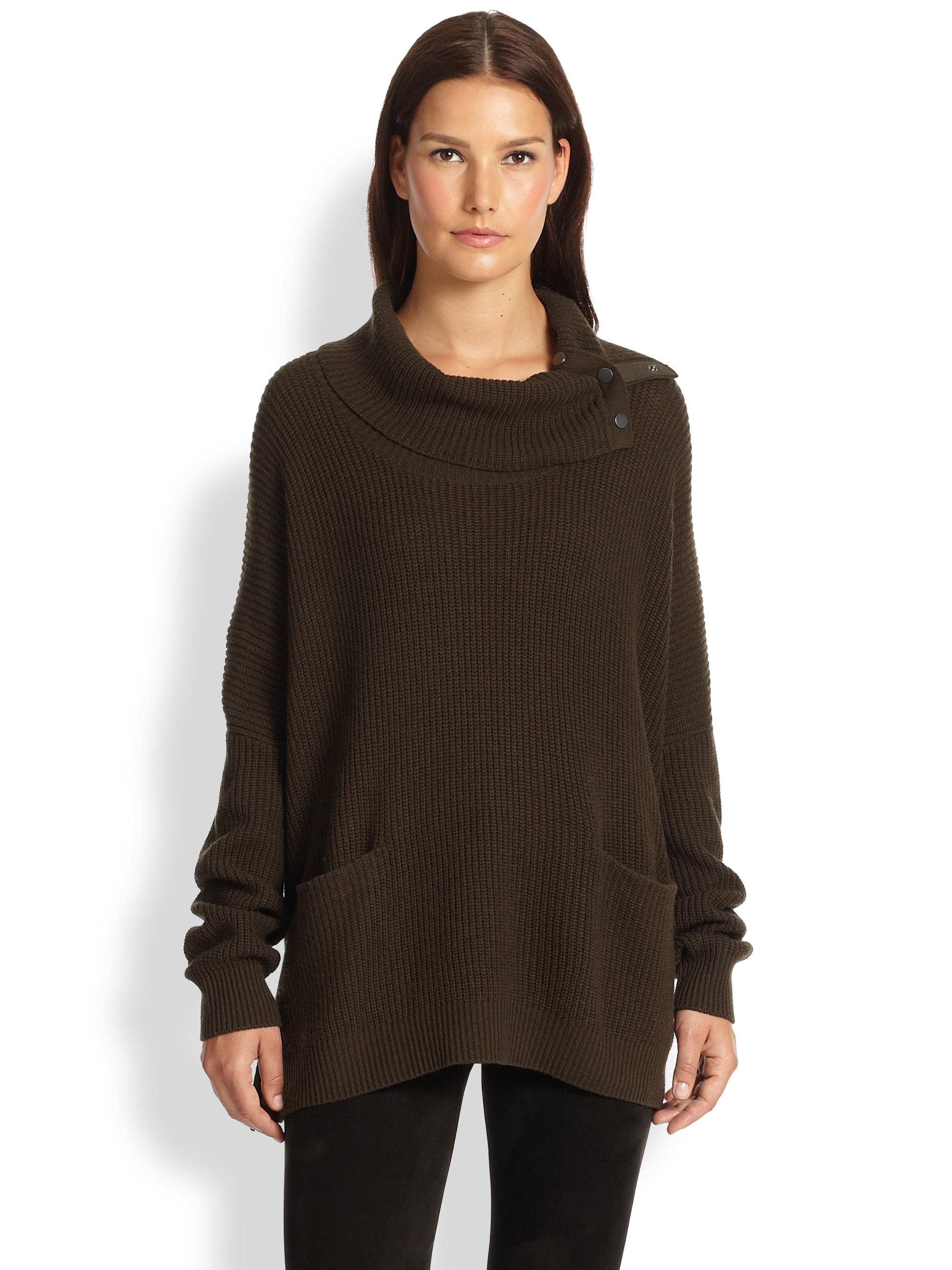 Wool Sweater Grey: Vince Oversized Snap Yak & Wool Sweater In Brown (FOLIAGE