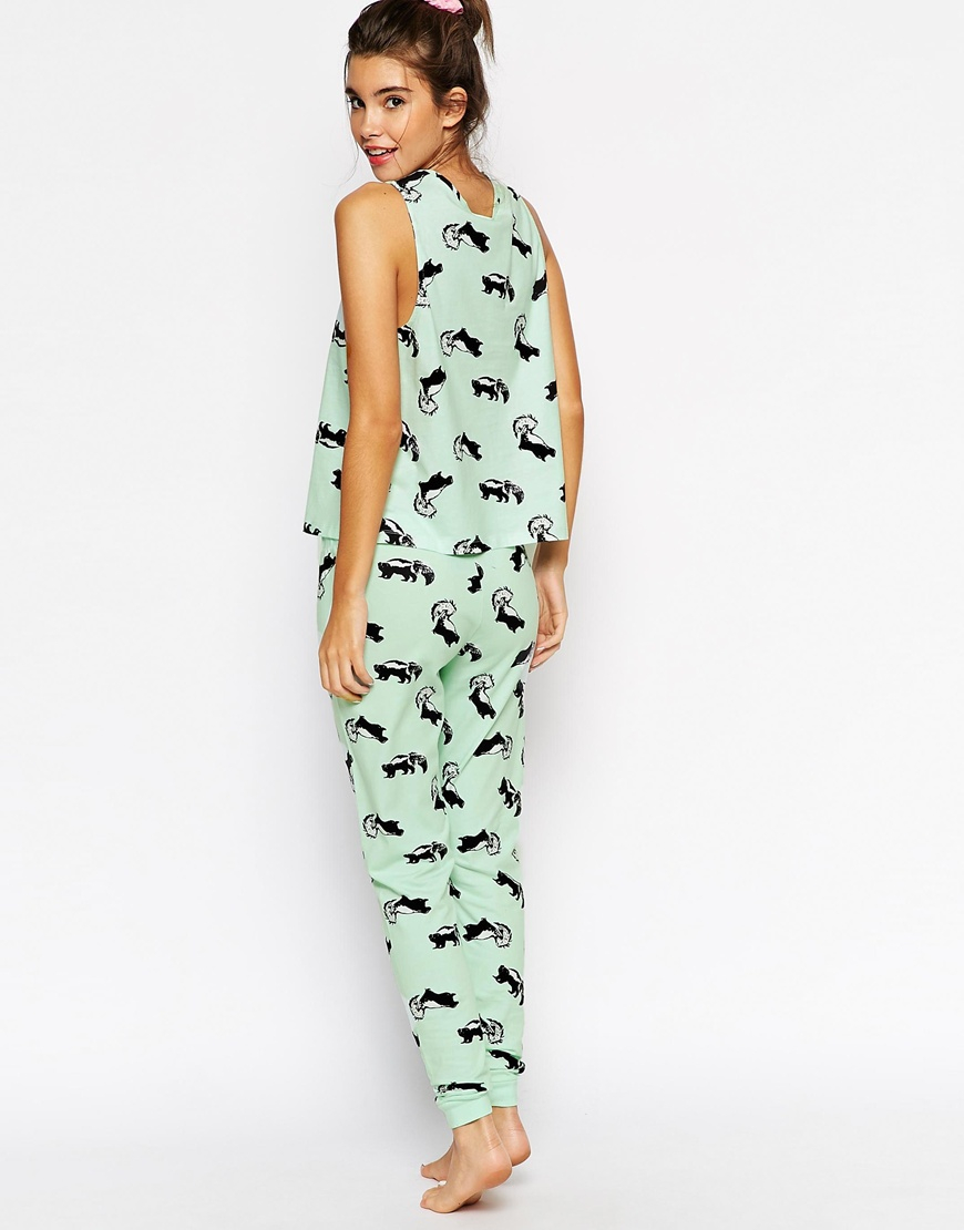 asos skunk print pyjama vest u0026 legging set in green lyst