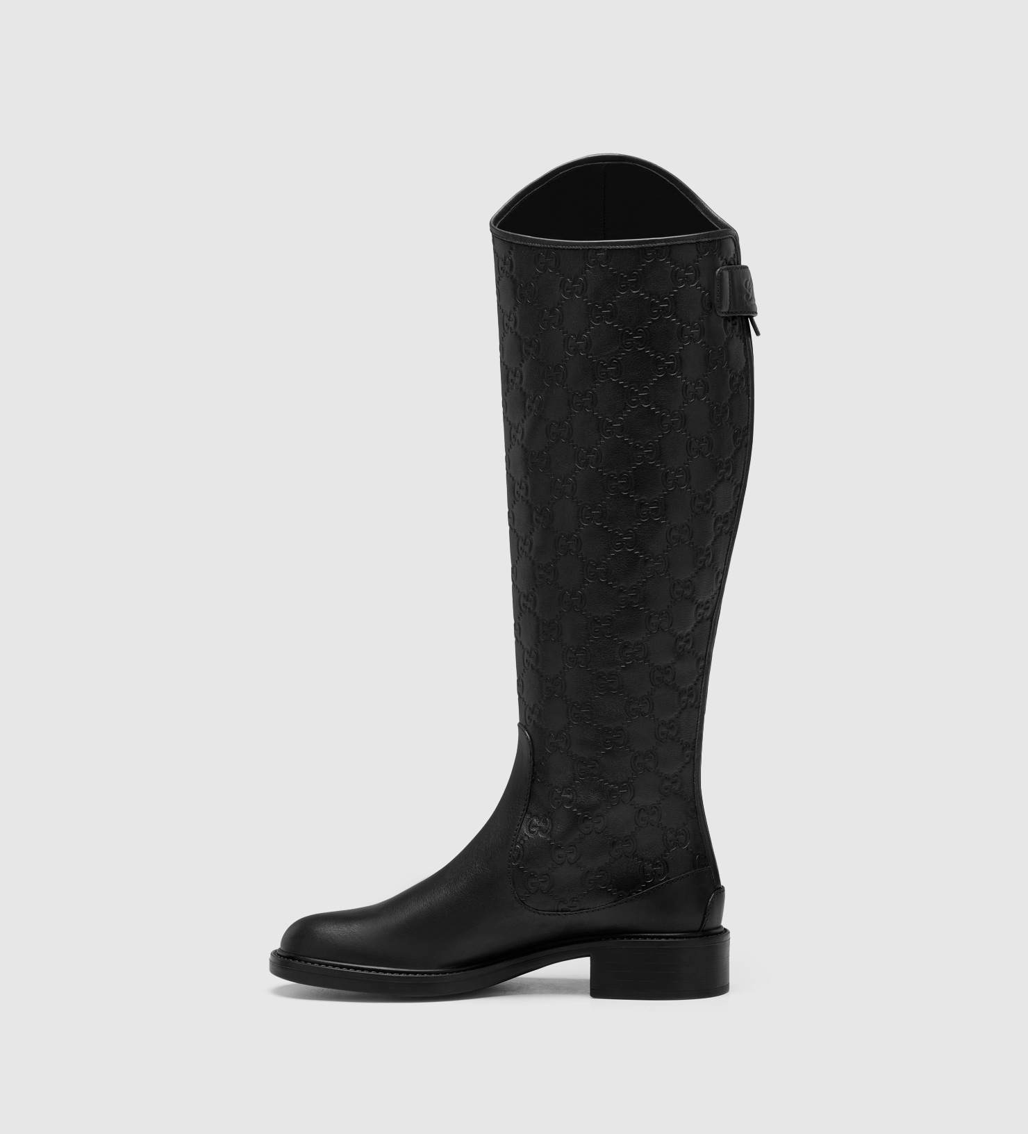 9fa0a406fecee Gucci Maud Black Leather Tall Flat Boot in Black - Lyst
