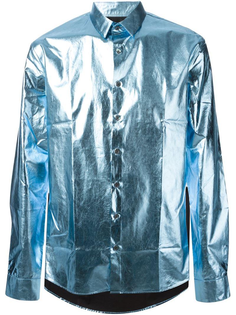 Les Hommes Metallic Shirt in Blue for Men