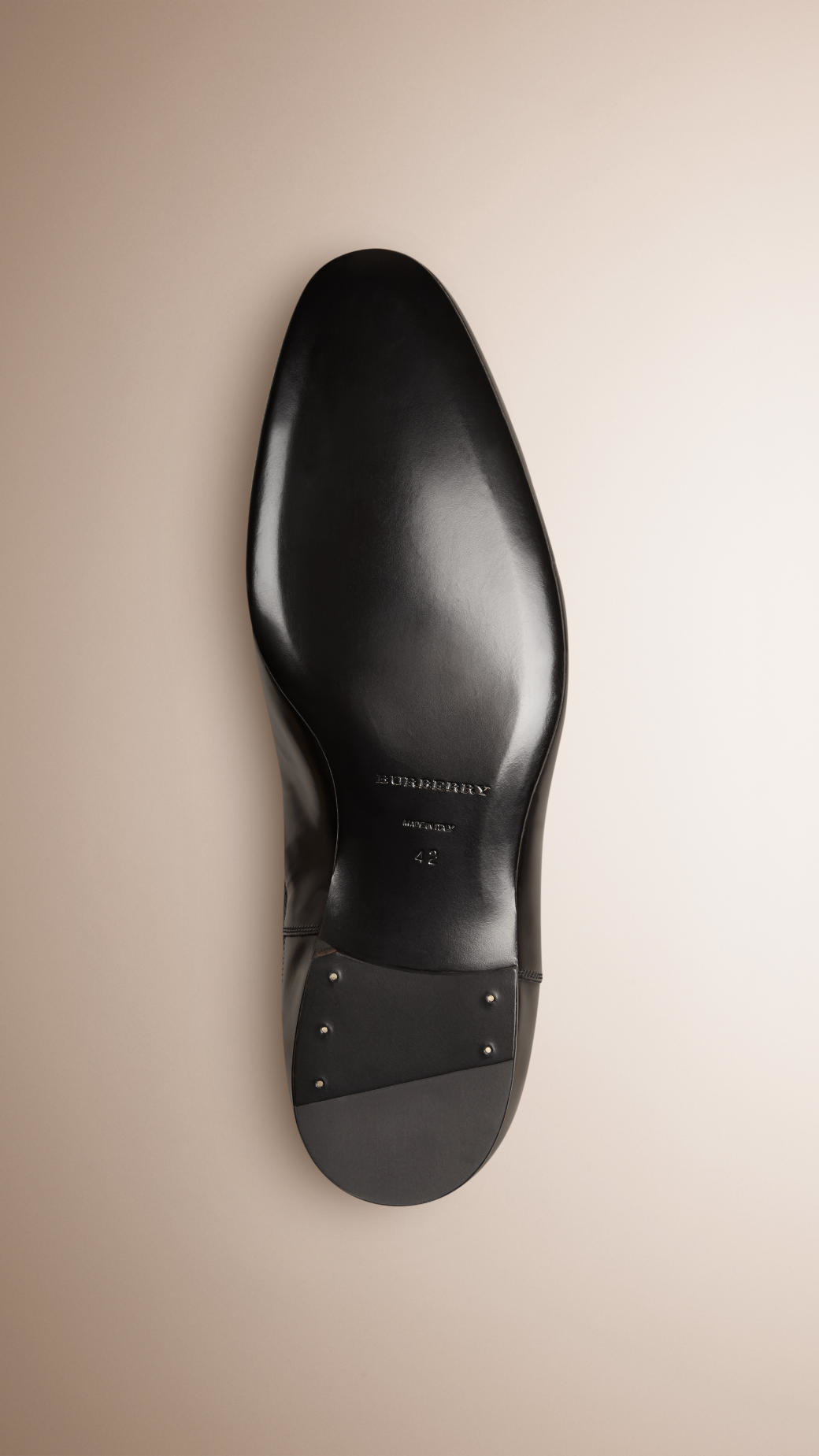 burberry polished leather chelsea boots in black for
