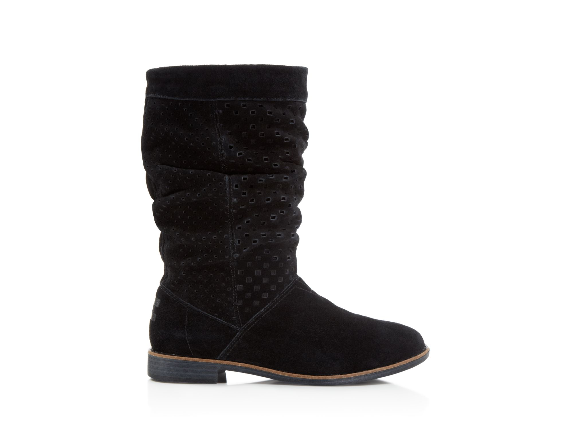 toms serra perforated suede boots in black lyst