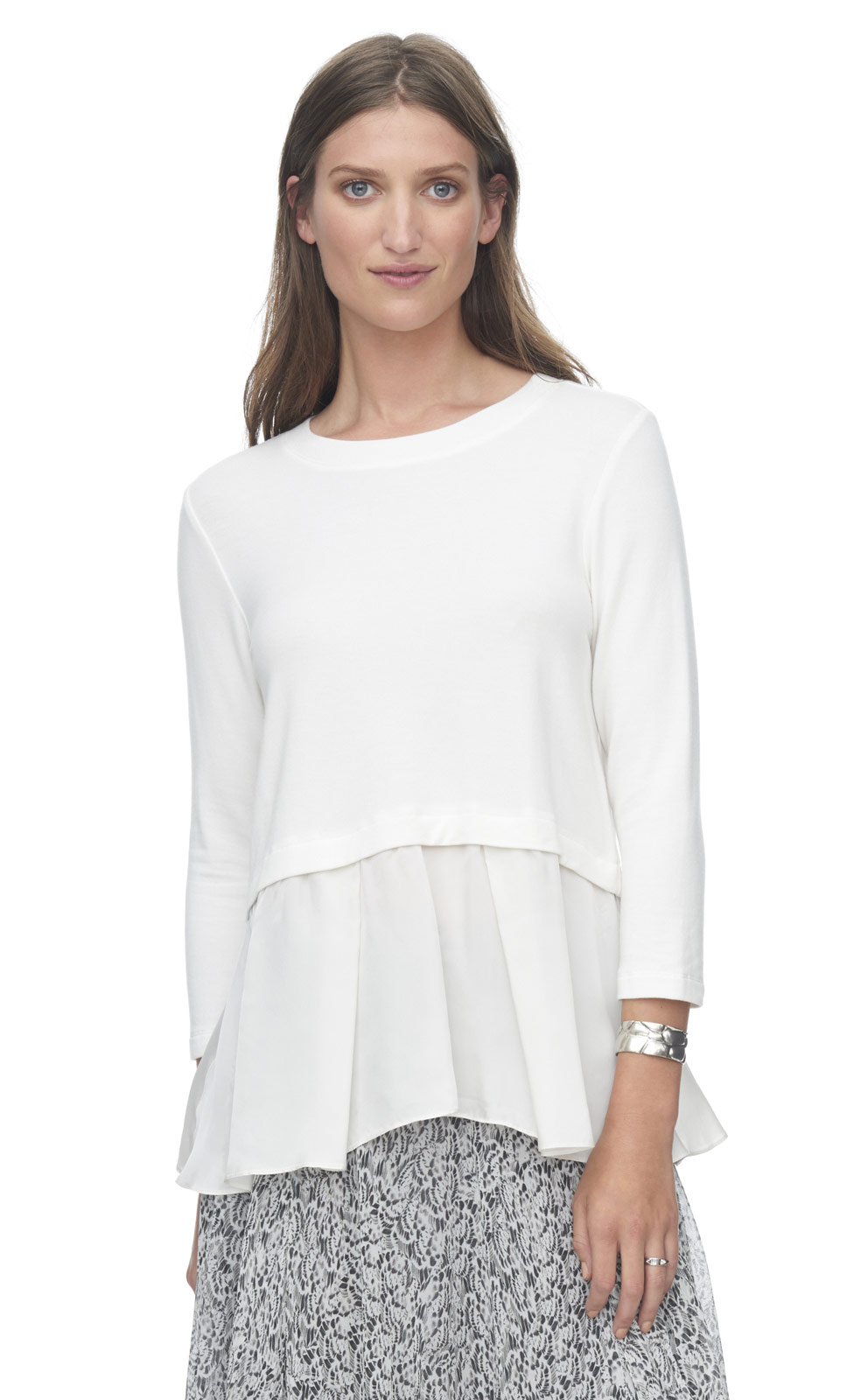 49e549e64287f8 Rebecca Taylor Terry Top With Ruffle in White - Lyst