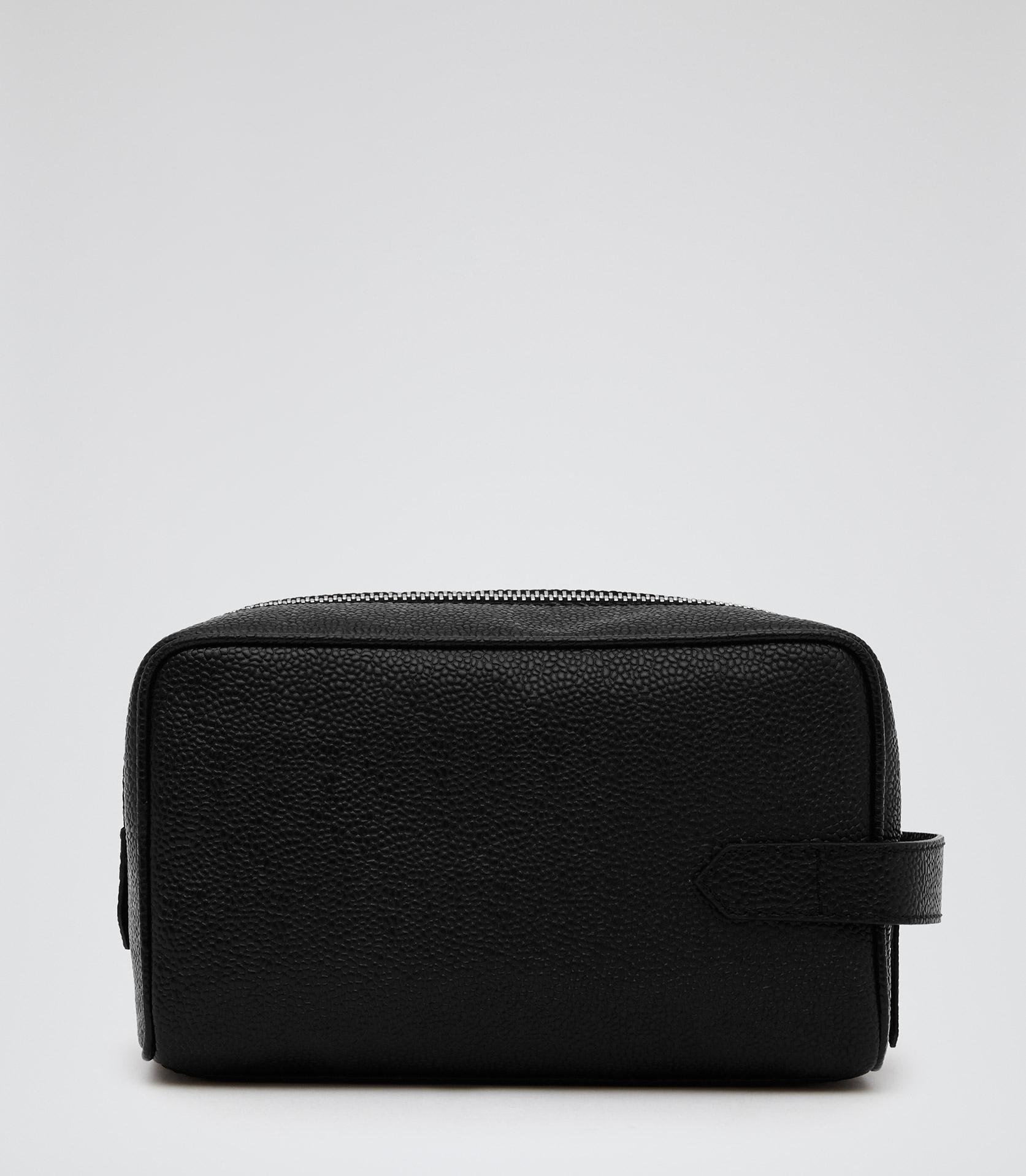 0b4cb42d60 Reiss Eldridge Pebbled Leather Wash Bag in Black for Men - Lyst