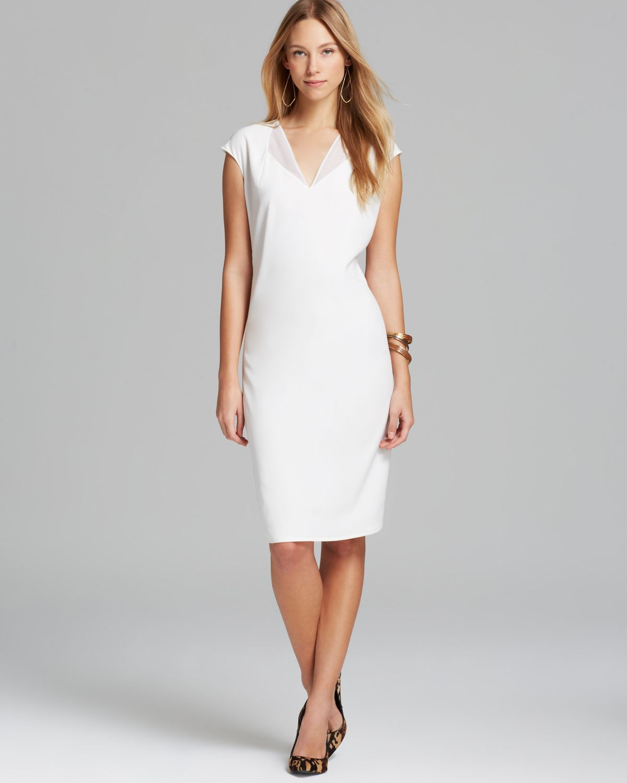 975f10b978 Calvin Klein V Neck Dress with Chiffon in White - Lyst