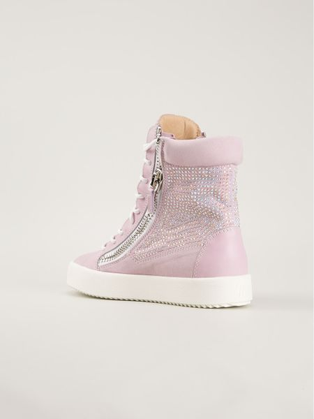 giuseppe zanotti embellished hitop sneakers in pink pink