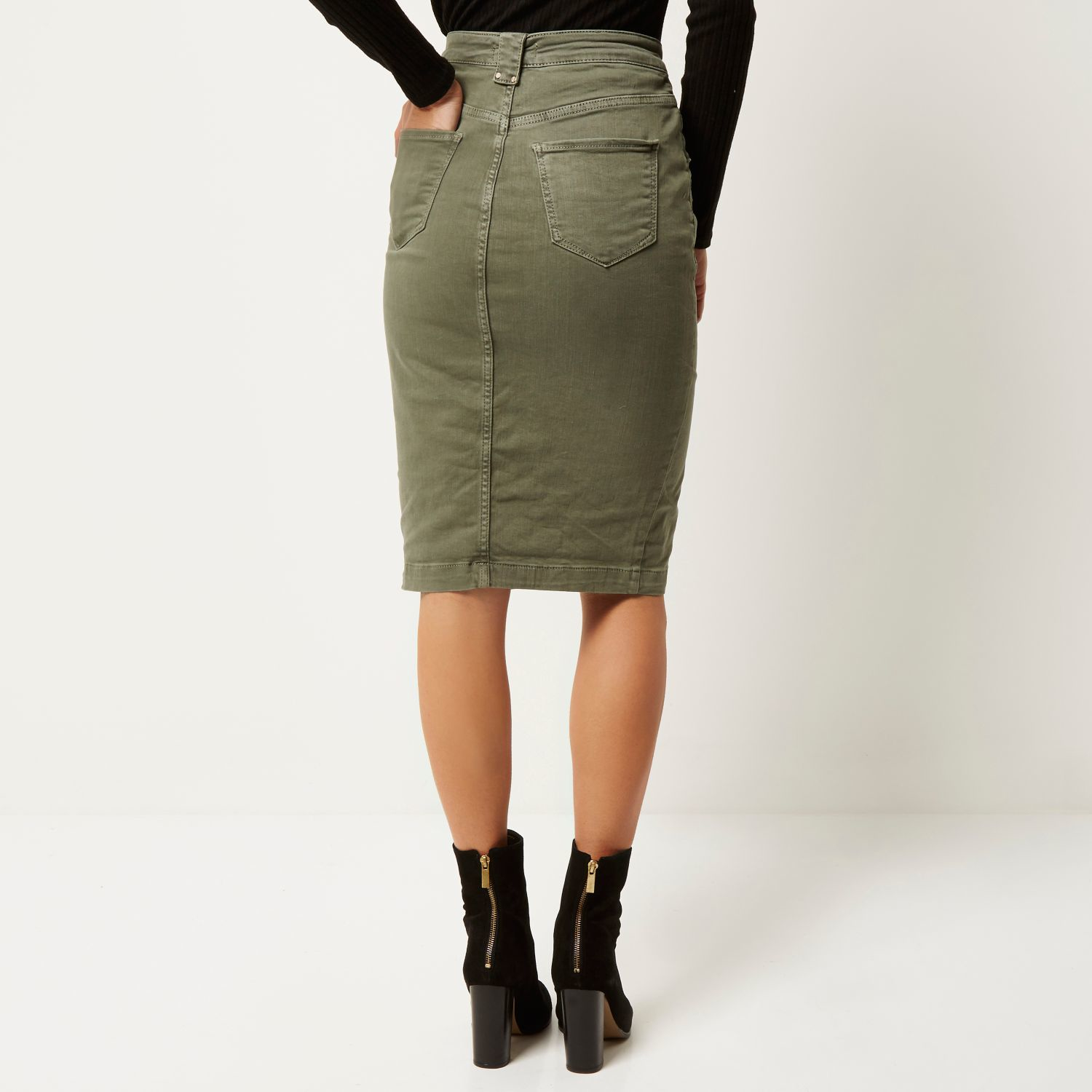 River island Khaki Denim Pencil Skirt in Natural | Lyst