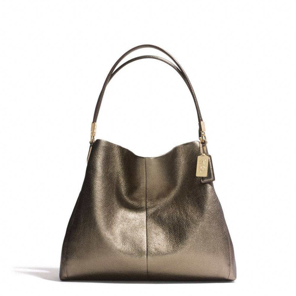 france coach metallic rose gold purse 75952 bcfb0  amazon lyst coach  madison small phoebe shoulder bag in metallic leather 2bf95 d257f 58df245c2b6ef