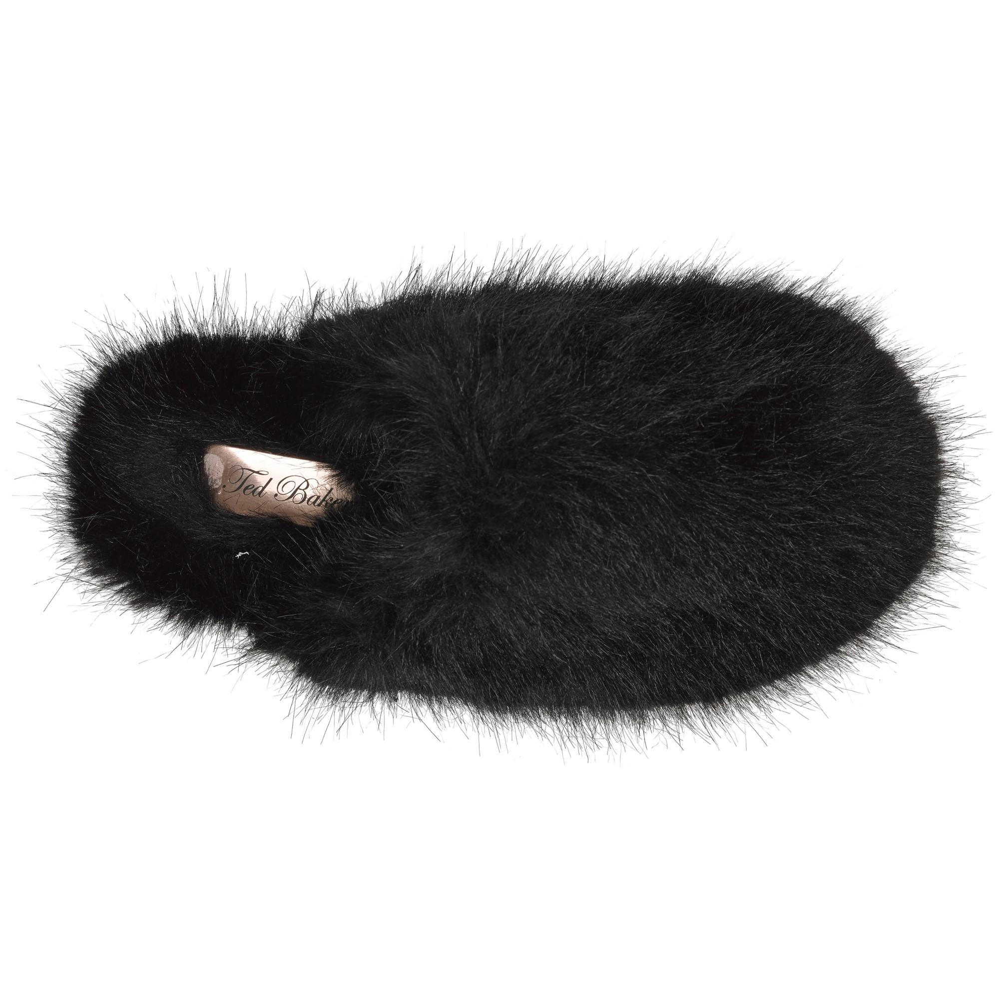 9cf5504adeaccd Ted Baker Breae Faux Fur Slippers in Black - Lyst