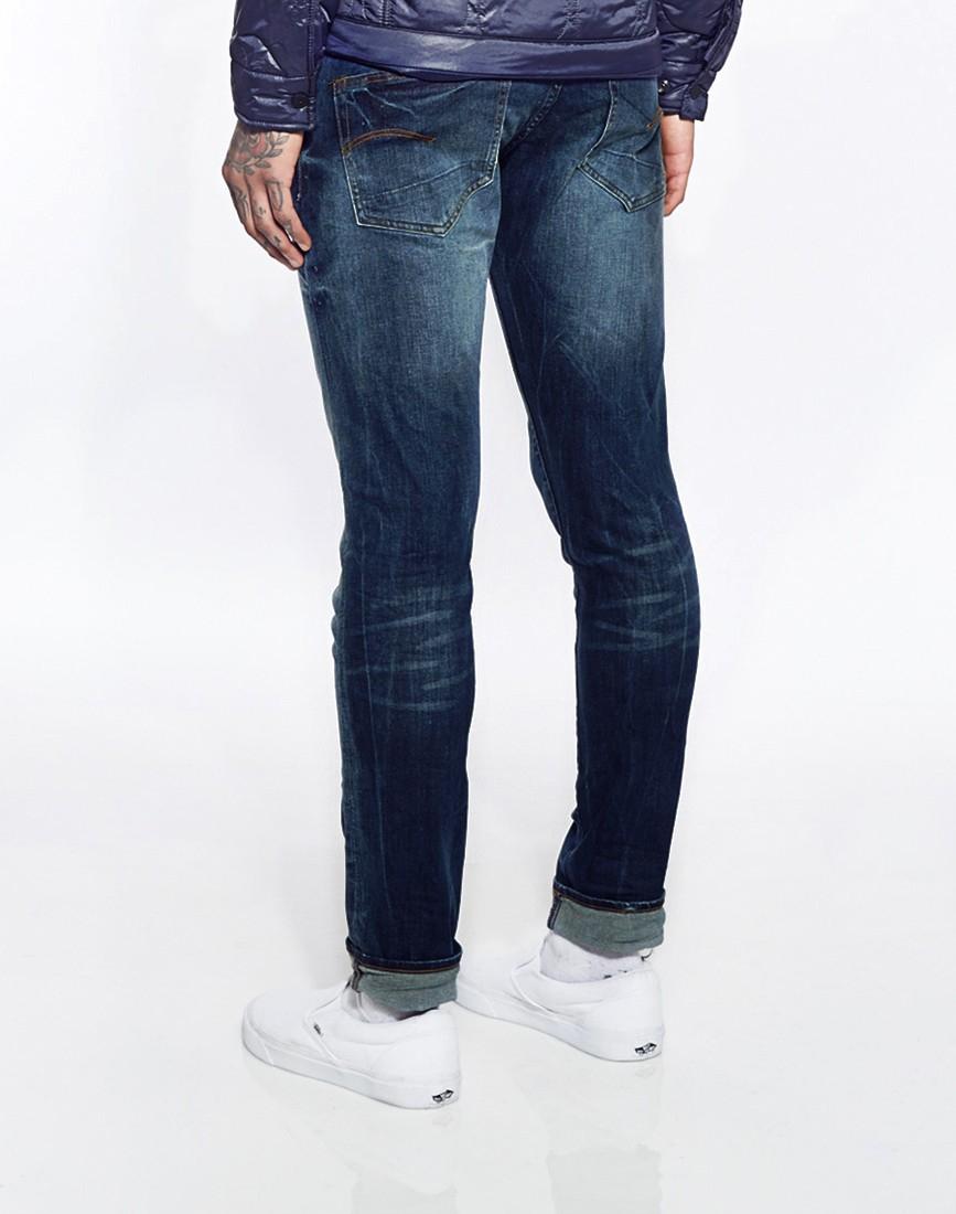 g star raw g star jeans 3301 super slim fit medium aged in blue for men lyst. Black Bedroom Furniture Sets. Home Design Ideas