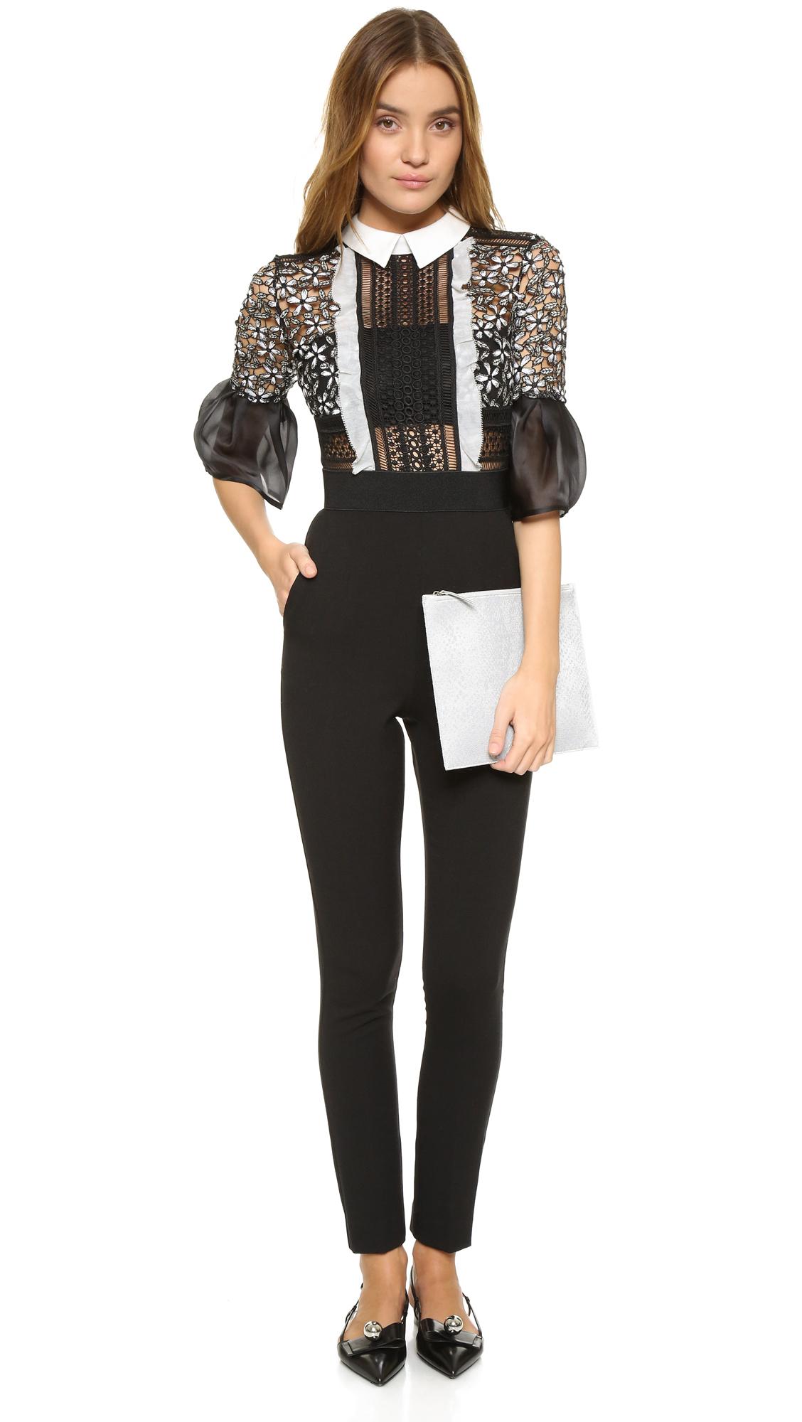3066a803546 Lyst - Self-Portrait Bell Sleeve Jumpsuit in Black