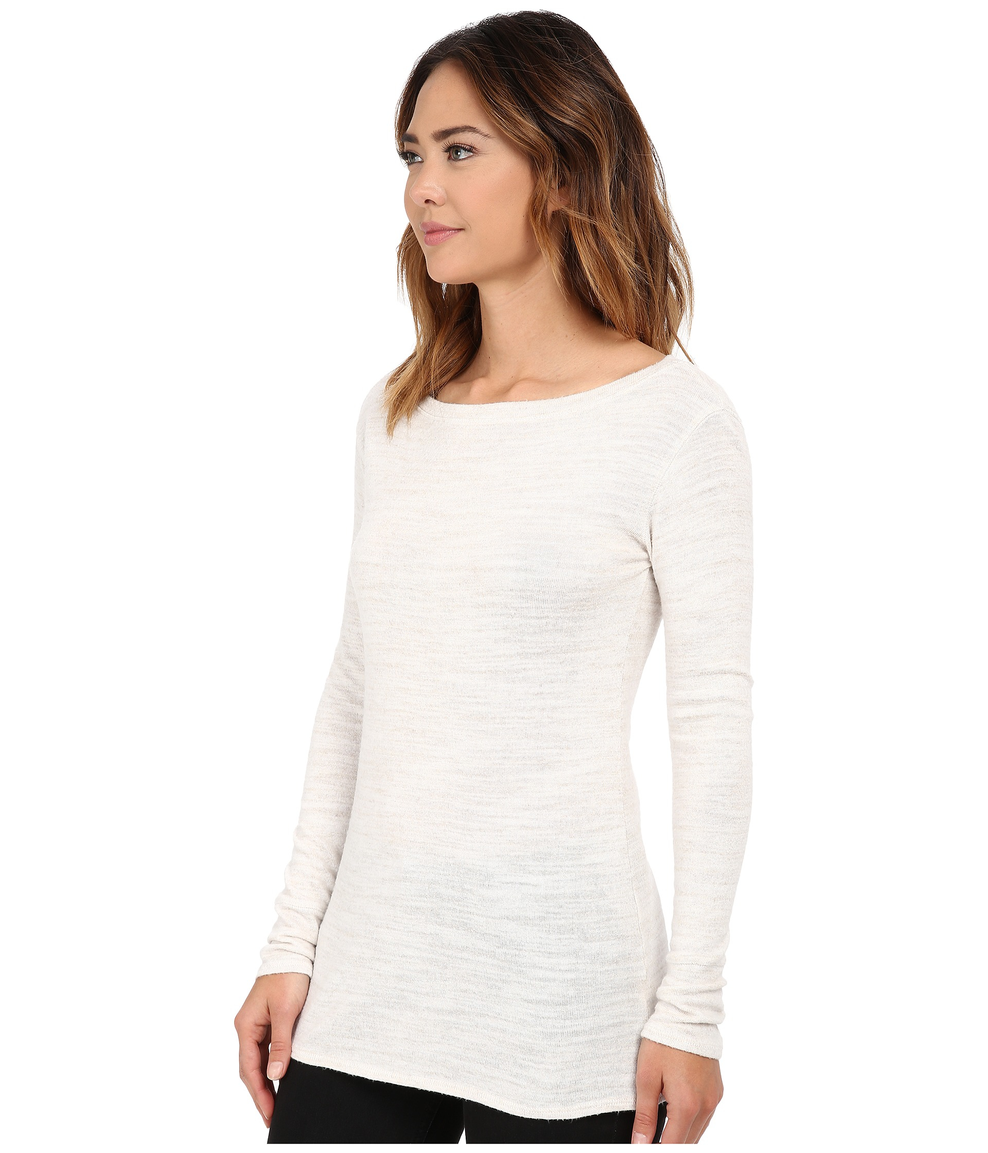 Michael stars Sweater Knit Long Sleeve Boat Neck Tunic in White | Lyst