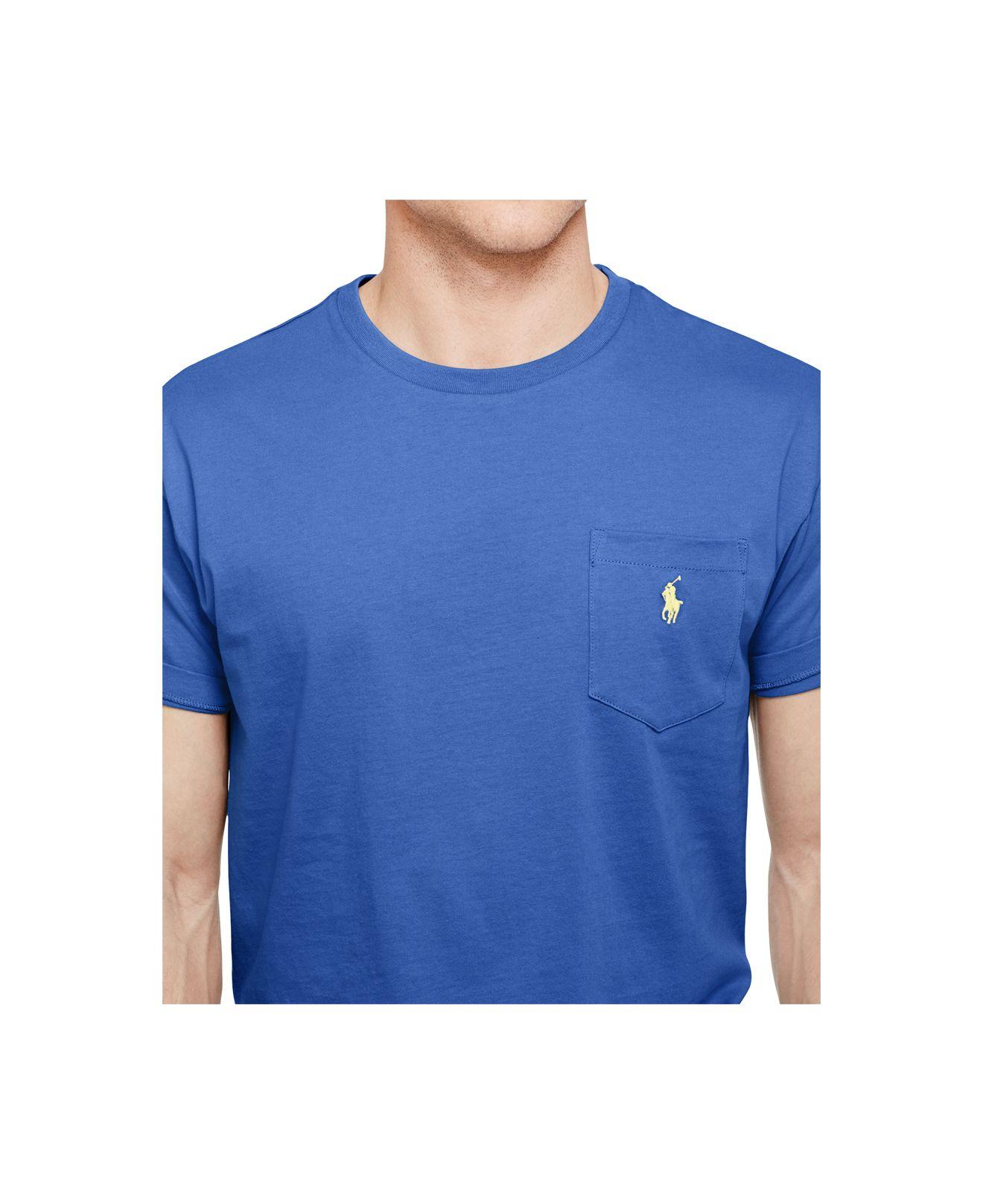 polo ralph lauren crew neck pocket t shirt in blue for men. Black Bedroom Furniture Sets. Home Design Ideas