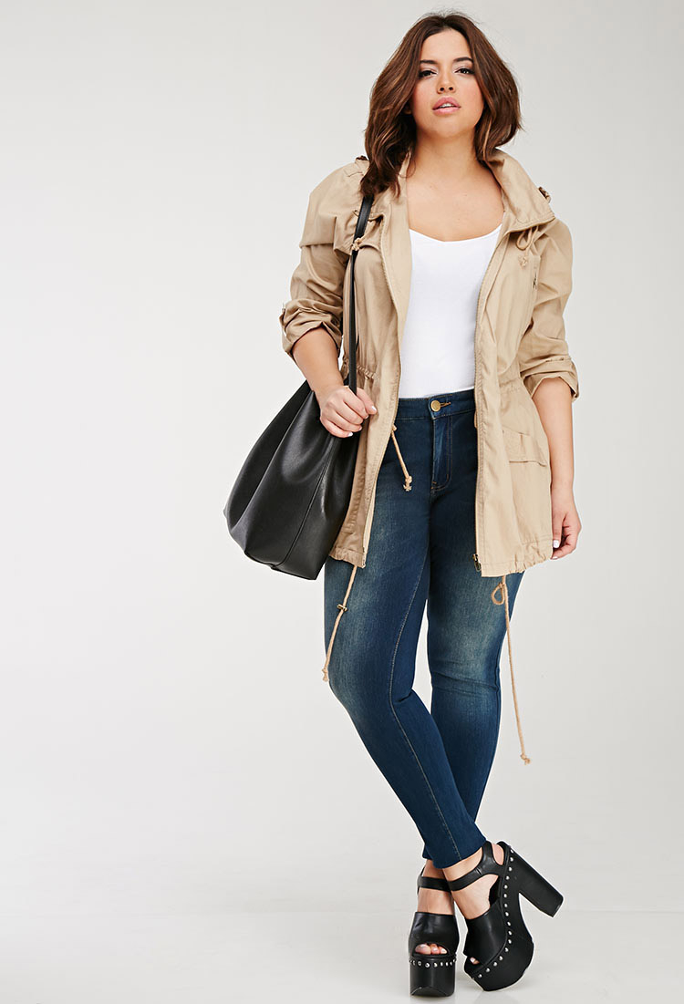 Lyst Forever 21 Plus Size Hooded Utility Jacket In Natural