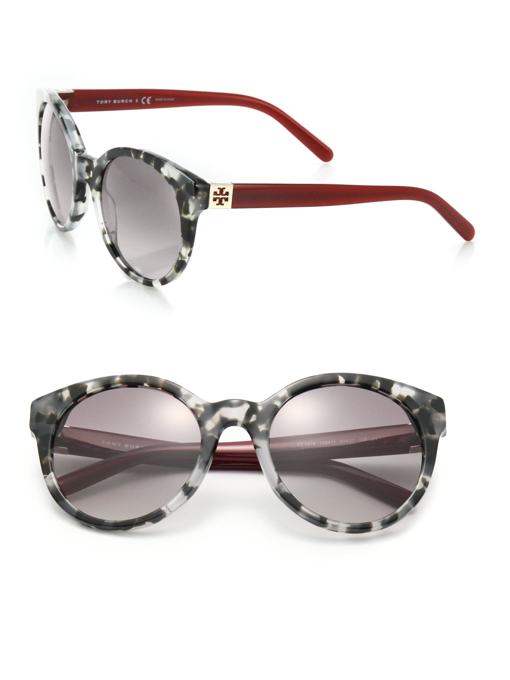 c375e5085d06 Tory Burch Vintage 54mm Round Sunglasses in Gray - Lyst