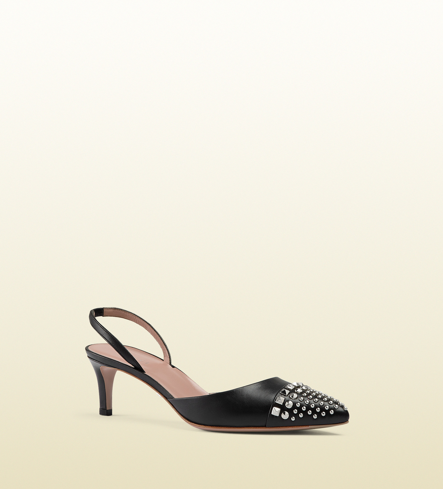 6fd2589231 Gucci Studded Leather Mid-heel Slingback Pump in Black - Lyst