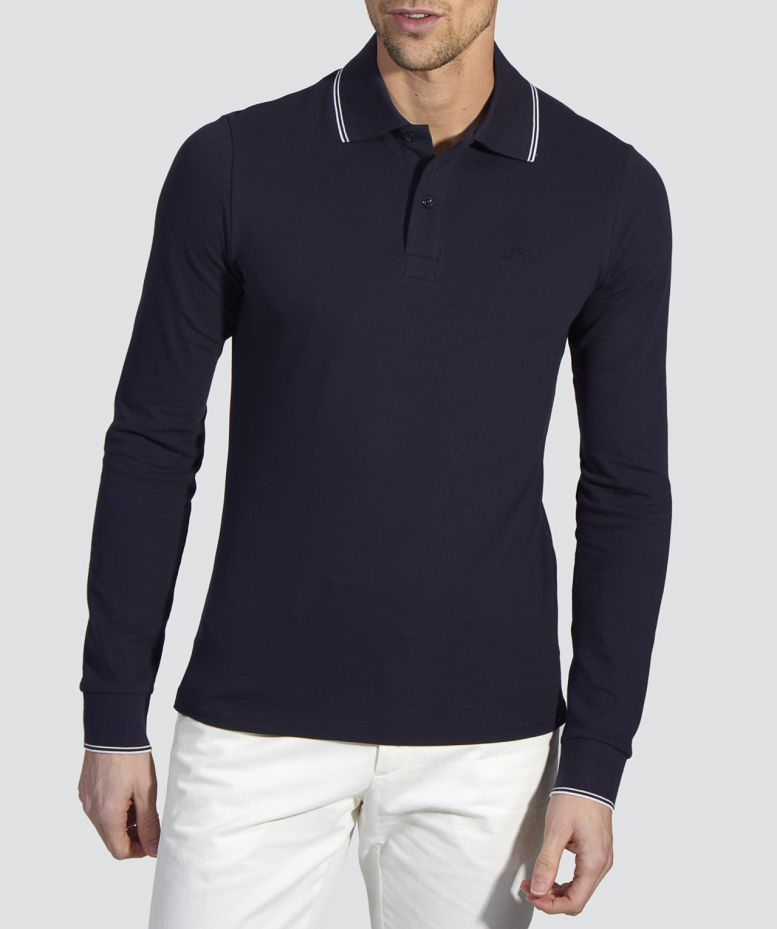 armani jeans slim fit long sleeve polo shirt in blue for