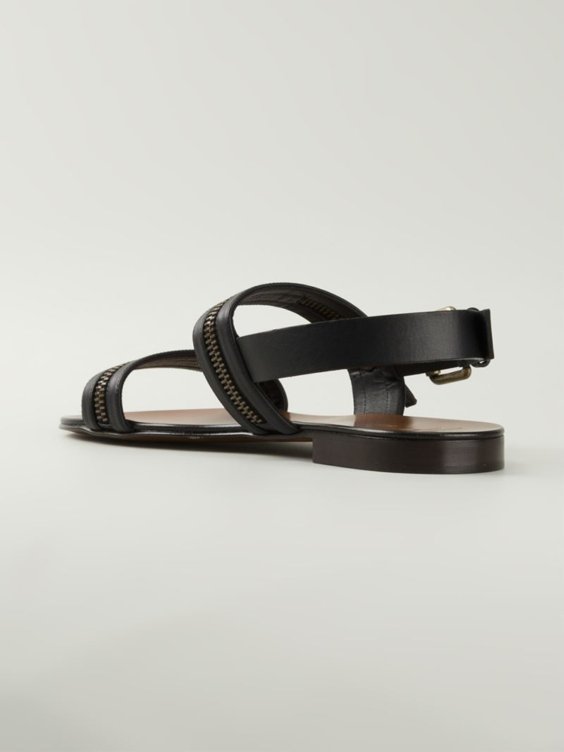 22a4cc2a3641 Giuseppe Zanotti Zip Detail Strappy Sandals in Black for Men - Lyst