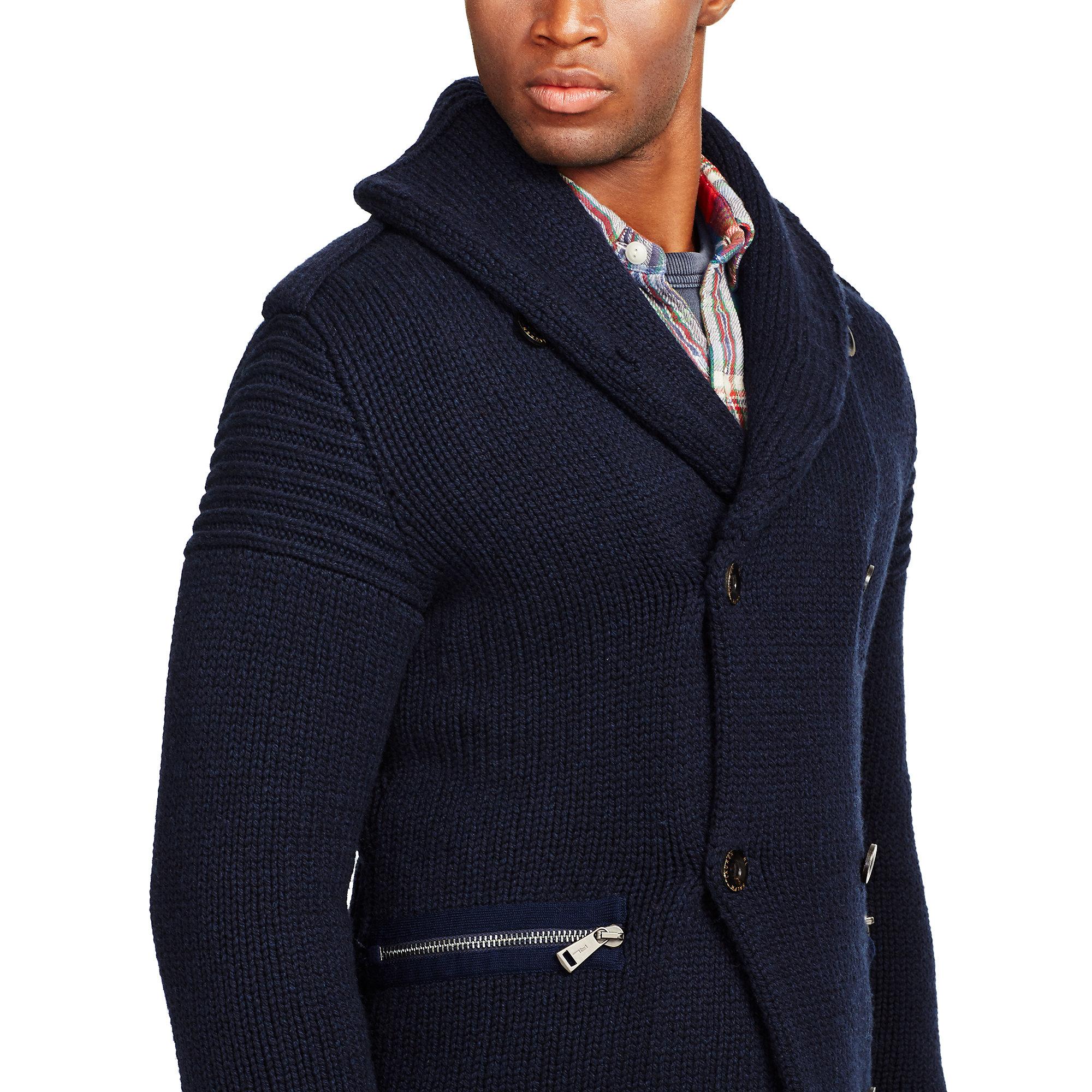 9f6c6e07a0 Polo Ralph Lauren Blue Merino Wool Shawl Cardigan for men