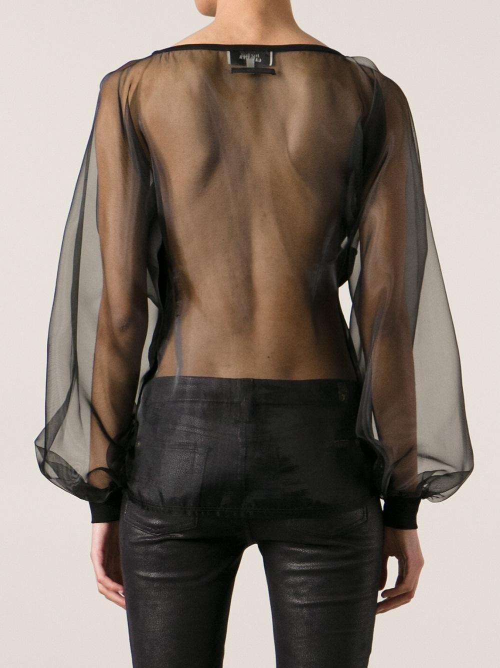 Lyst Jean Paul Gaultier Sheer Back Blouse In Black