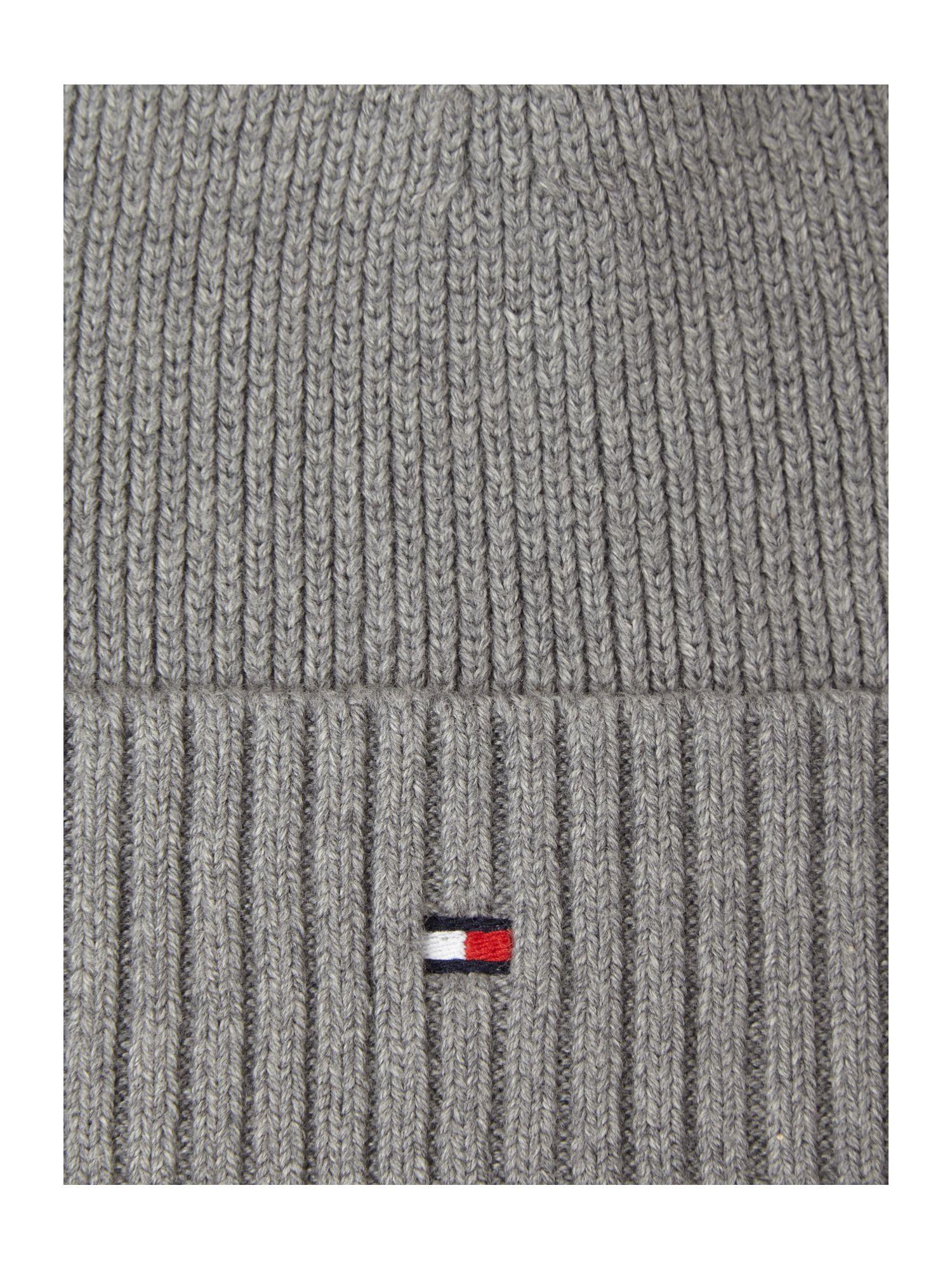 Tommy Hilfiger Cotton Cashmere Beanie Hat In Light Grey