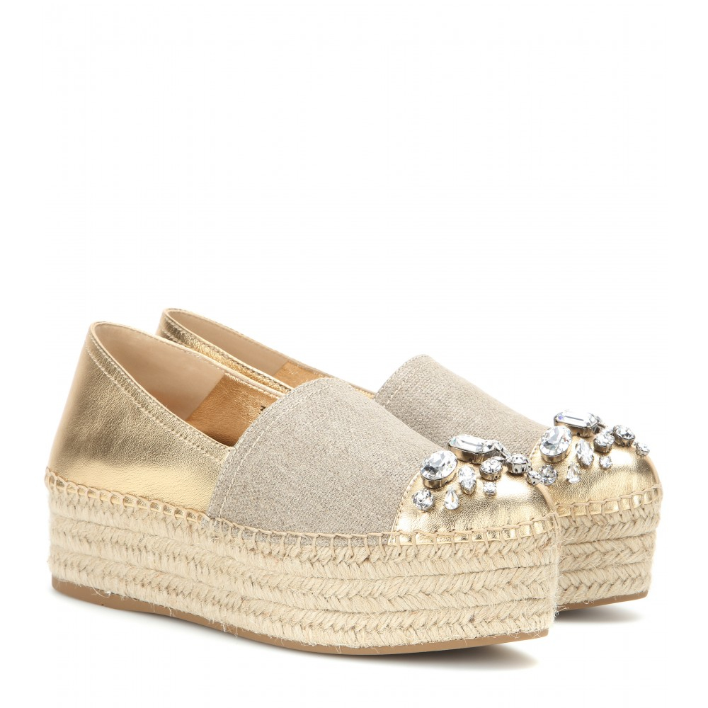 Miu Miu Crystal-Embellished Flatform Espadrilles discount reliable latest for sale cheap sale wide range of discount store cheap in China n8r3E