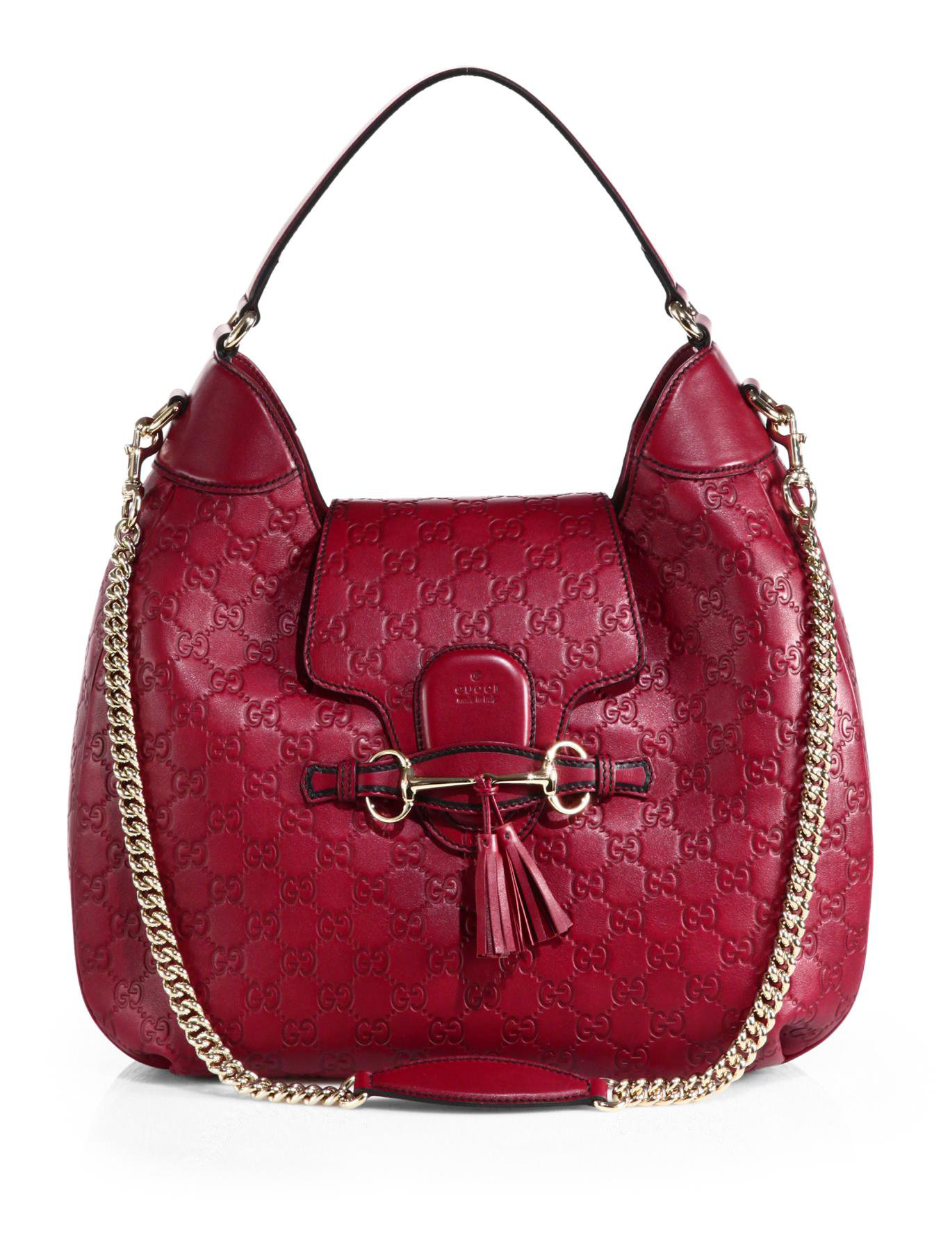 Gucci Emily Ssima Leather Hobo Bag in Red | Lyst