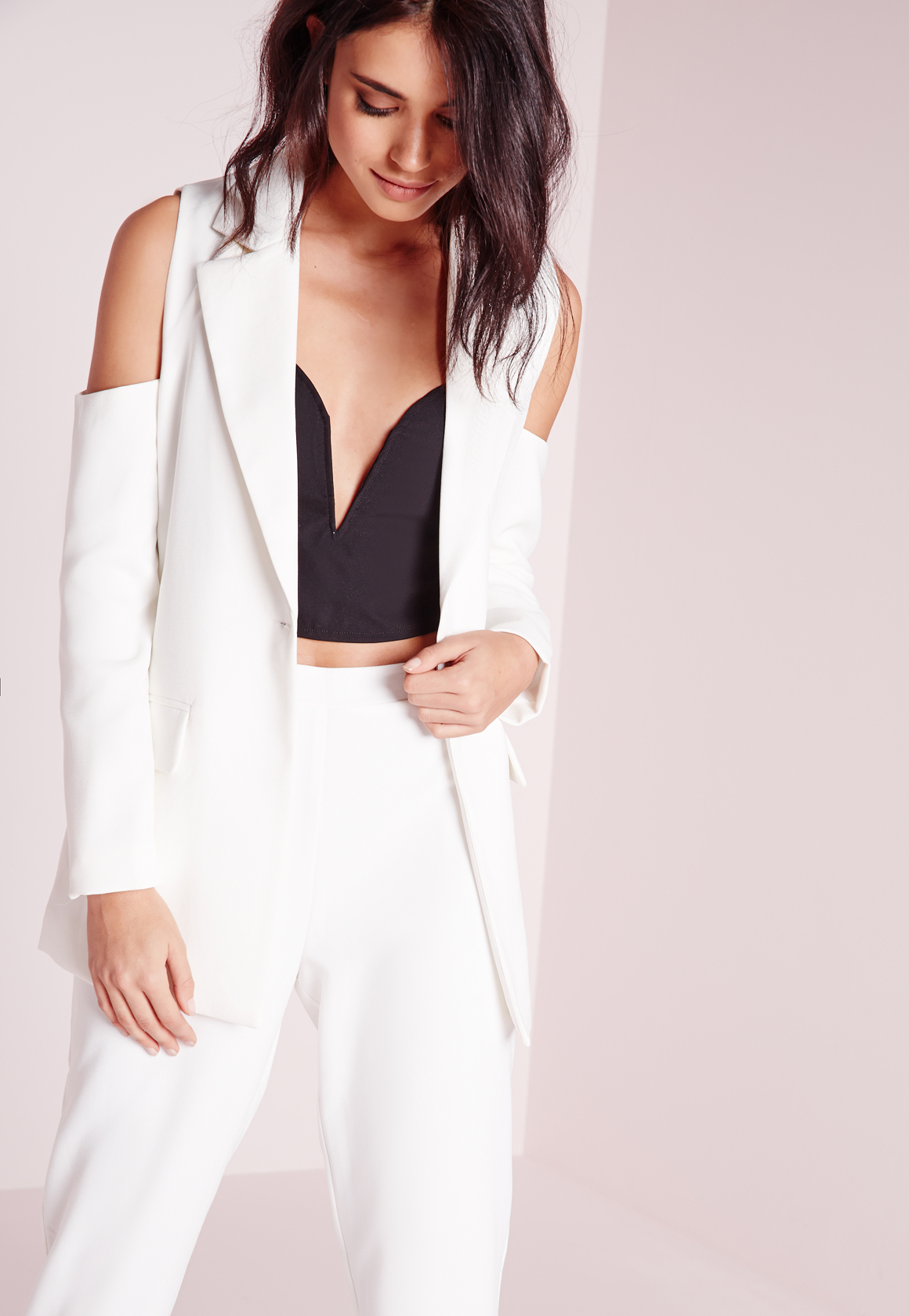ed3be588649c6c Lyst - Missguided Cold Shoulder Tailored Blazer White in White