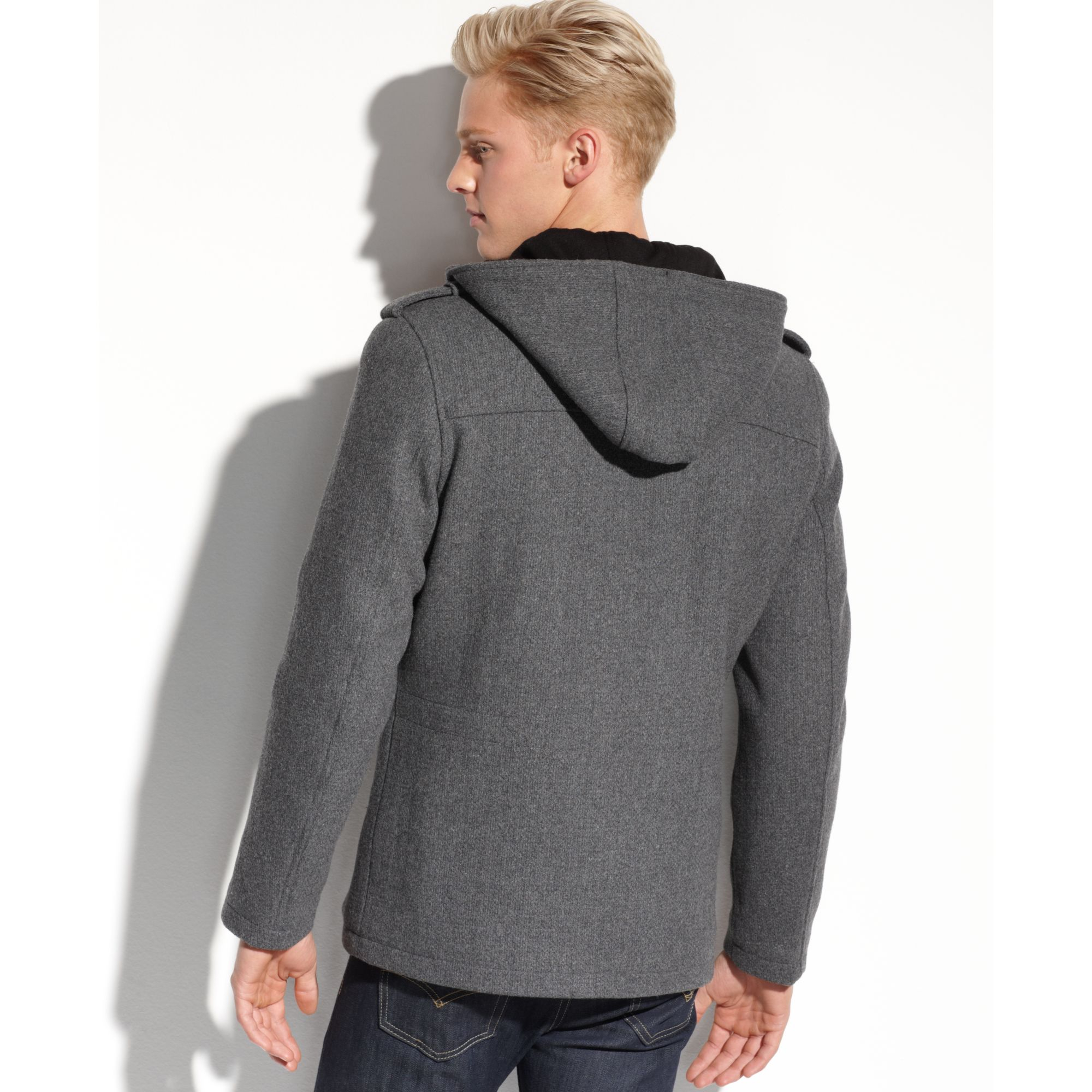 Guess Coat Sixpocket Hooded Coat In Gray For Men Lyst