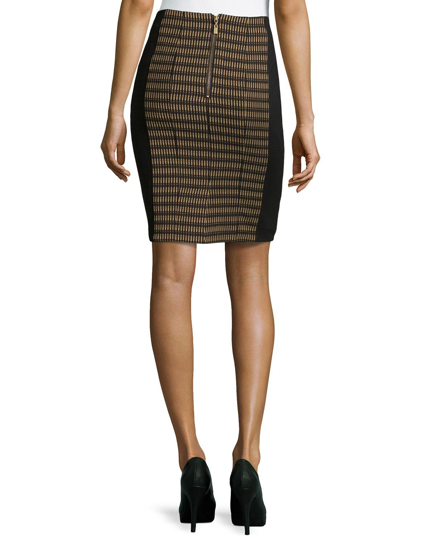 nanette lepore oval jacquard paneled pencil skirt in brown