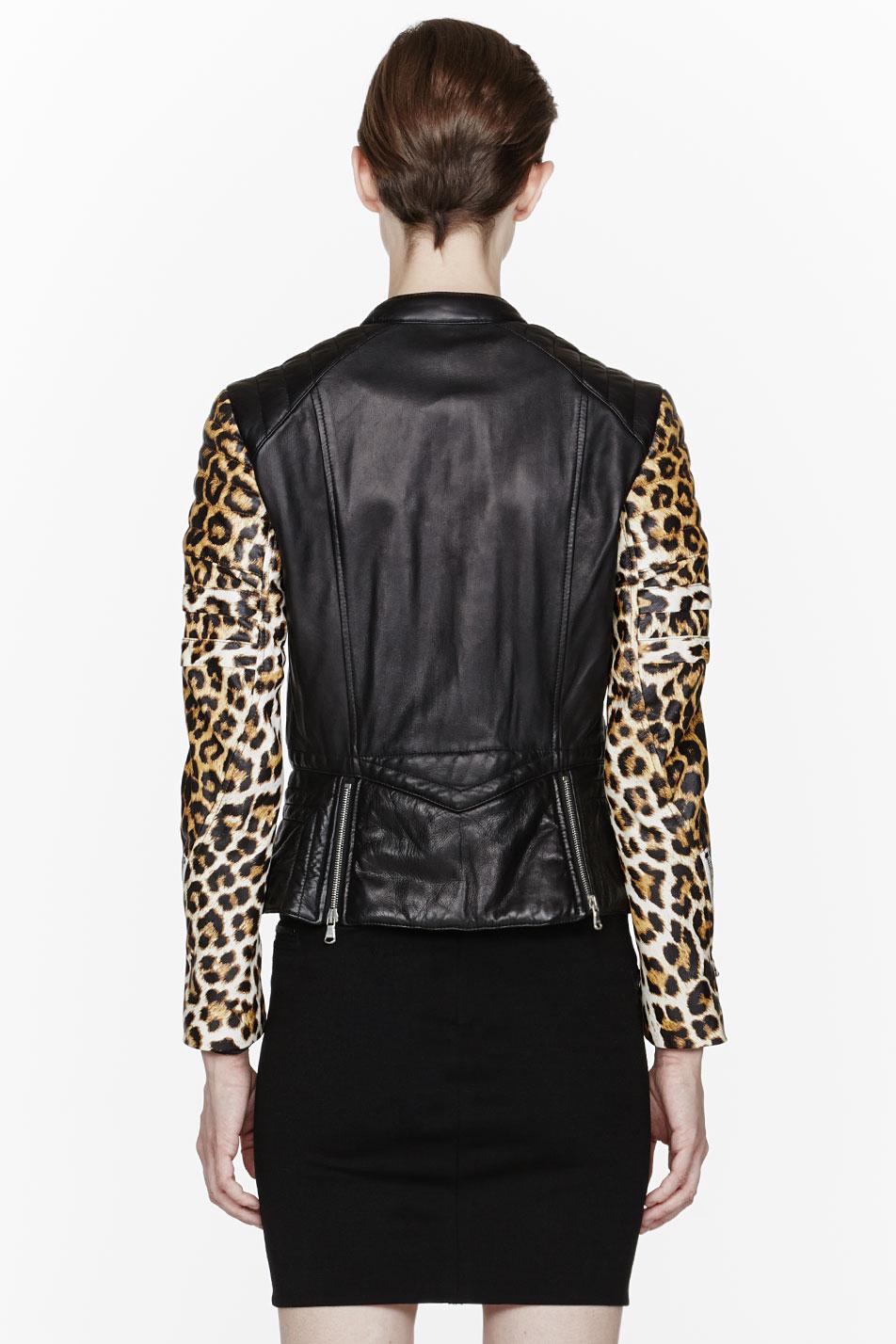 3 1 Phillip Lim Black Leopard Print Peplum Biker Jacket In