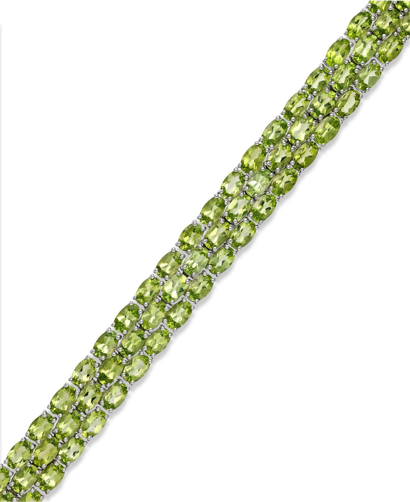 macy s peridot three row bracelet in sterling silver 25