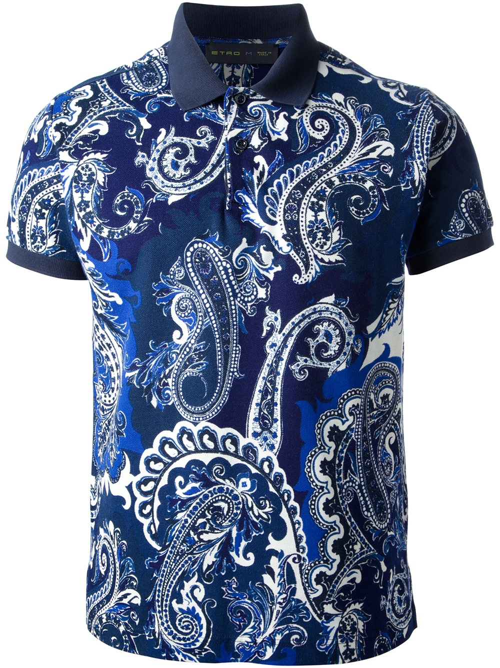 Etro paisley print polo shirt in blue for men lyst for Polo shirts for printing