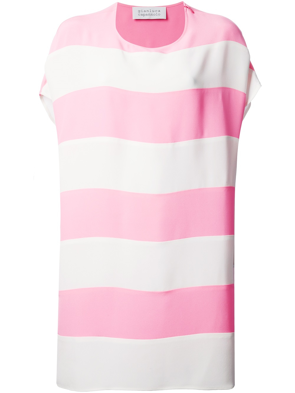 Lyst gianluca capannolo striped tshirt dress in pink for Pink white striped shirt