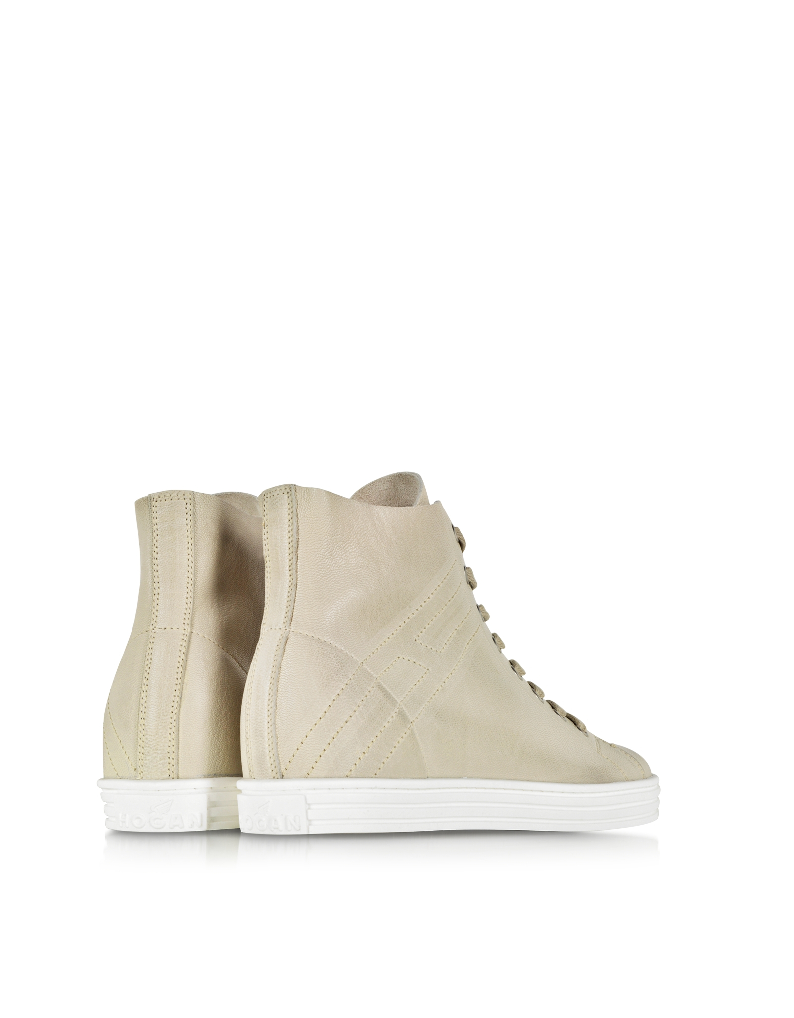 Lyst - Hogan Rebel Stressed White Leather High Top Women S Sneaker ... d899dfbd3ca