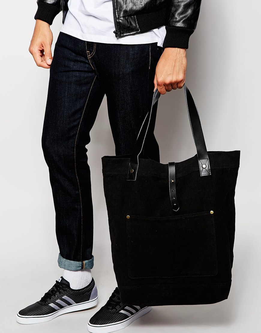 Best Duffle Bag >> ASOS Oversized Tote Bag In Black Canvas And Leather for Men - Lyst