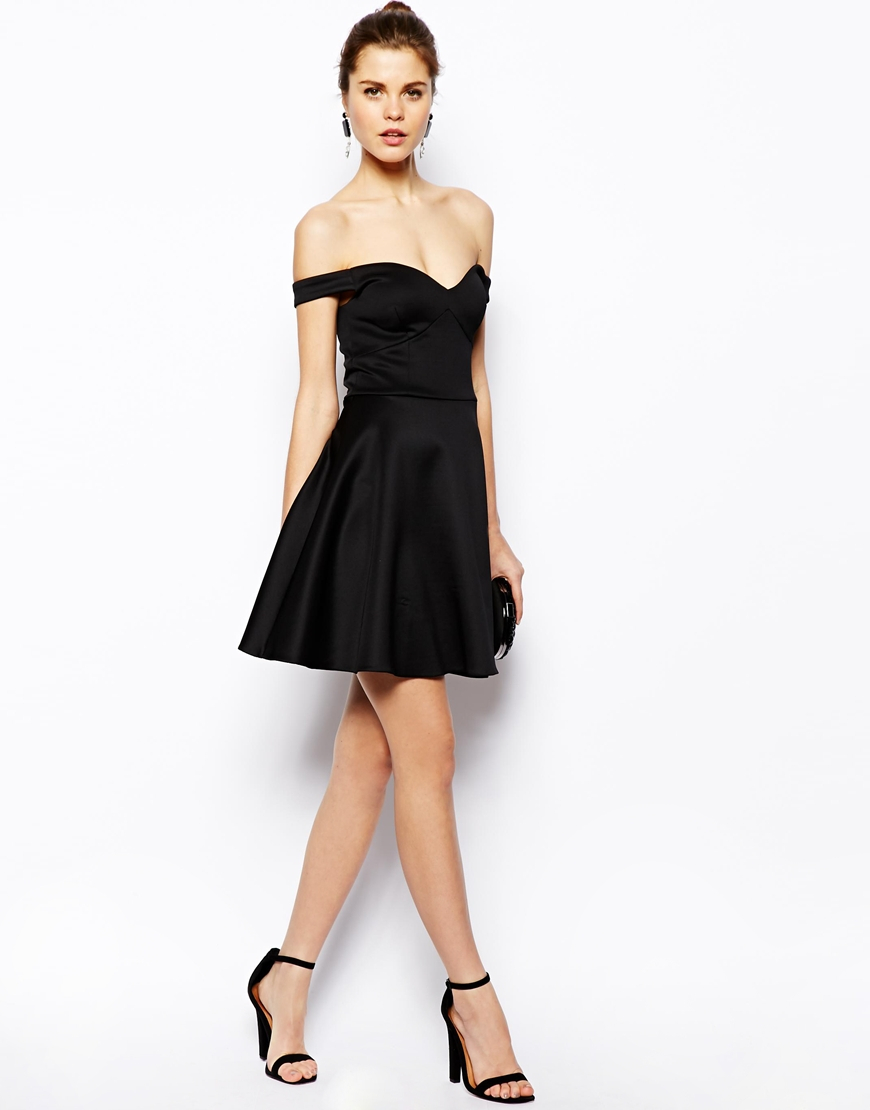 Lyst - Asos Scuba Bardot Skater Dress in Black