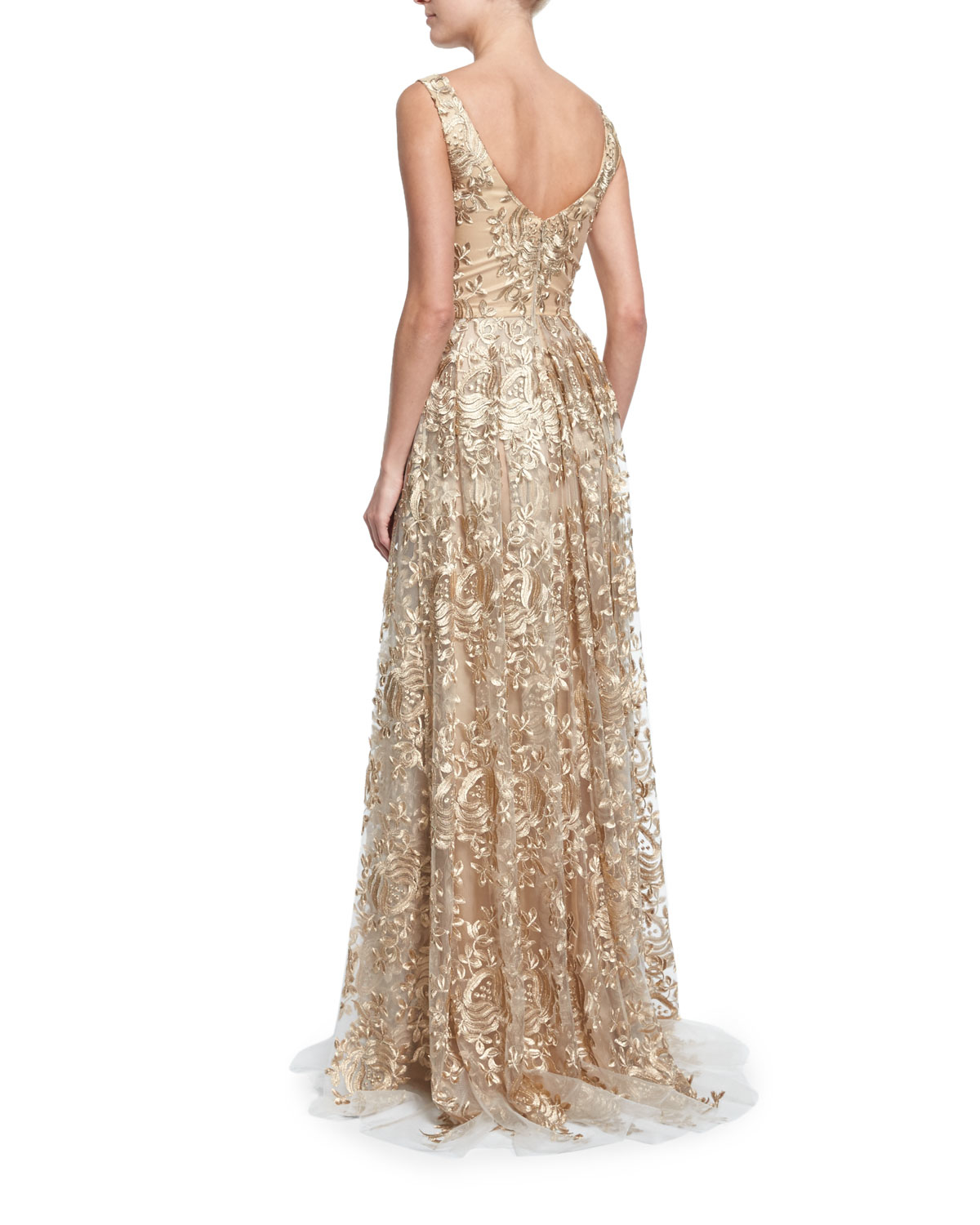 Theia Sleeveless Embroidered Ball Gown In Metallic Lyst