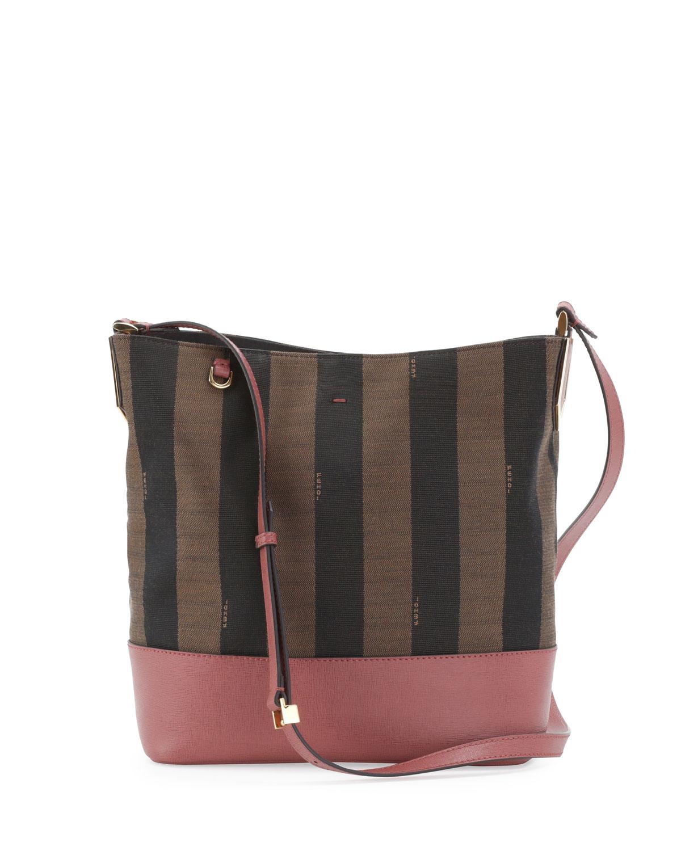 Lyst - Fendi Pequin Striped Bucket Bag in Brown 91fd0c1b1c