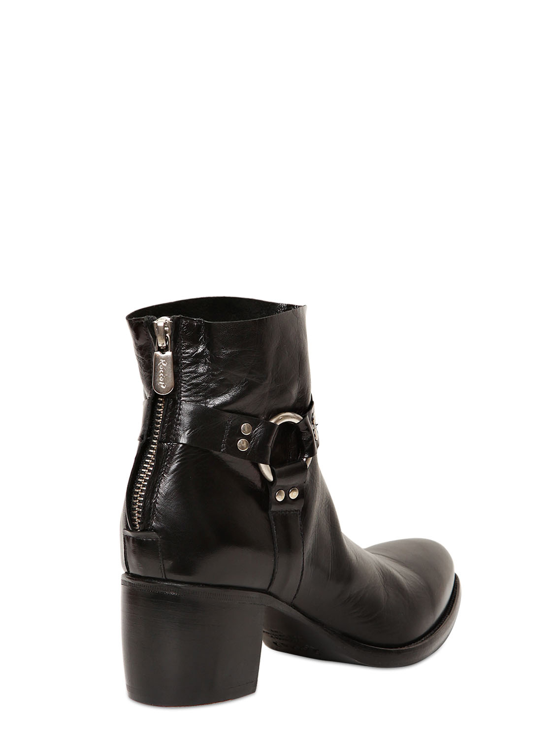 Rocco P 60mm Leather Belted Low Boots in Black