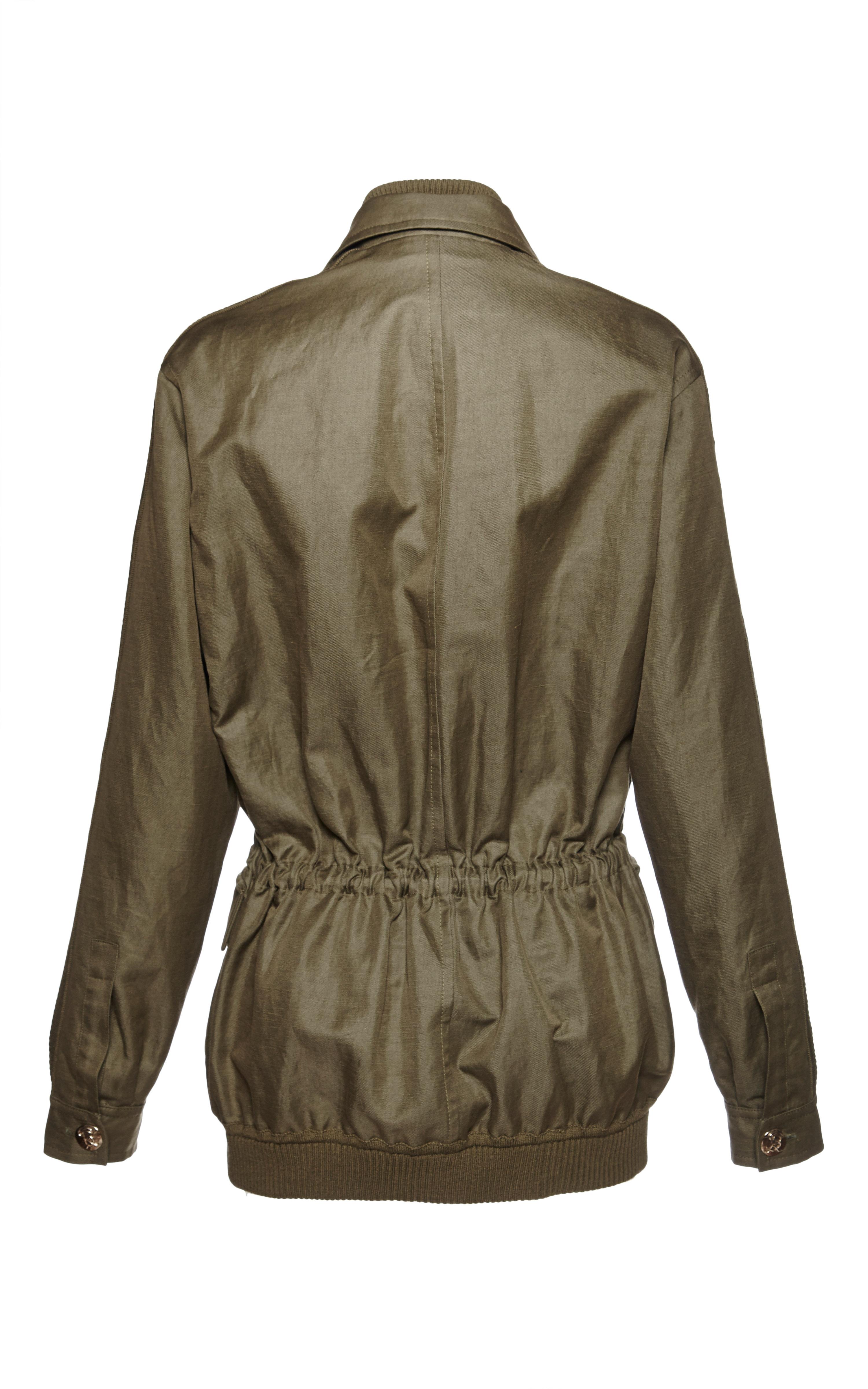 Sonia rykiel khaki cotton and linen twill embroidered