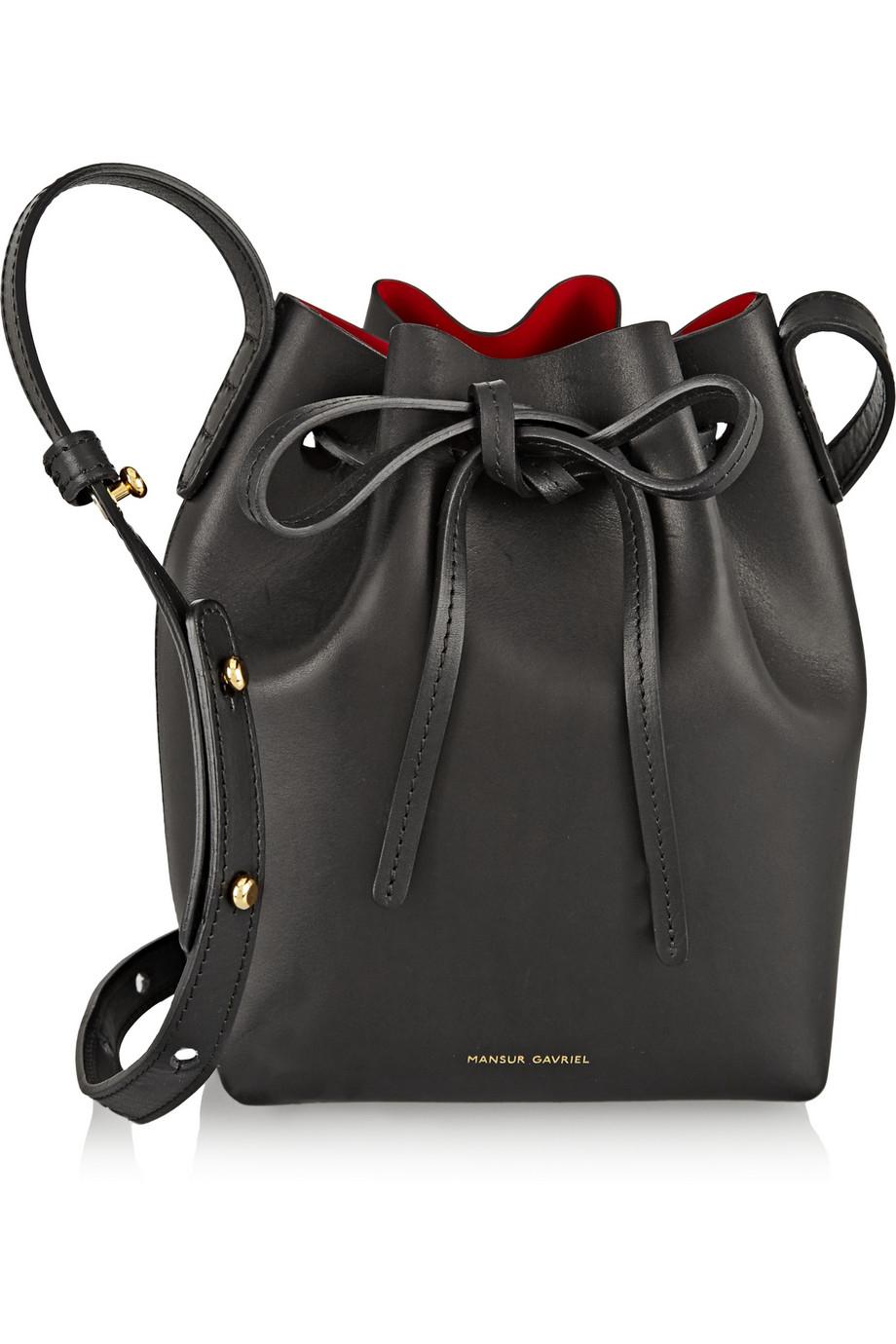 mansur gavriel mini mini leather bucket bag in black lyst. Black Bedroom Furniture Sets. Home Design Ideas