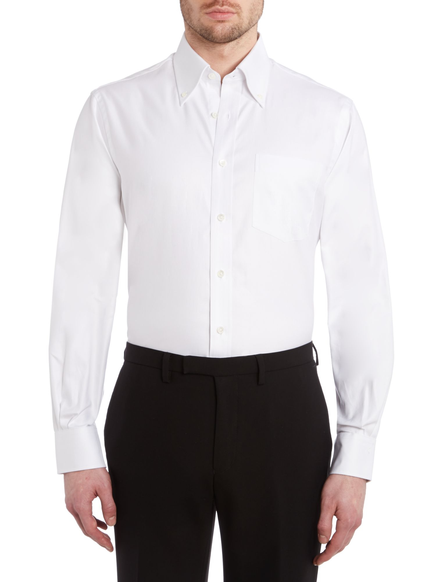 Chester Barrie Classic Button Down Collar Shirt In White